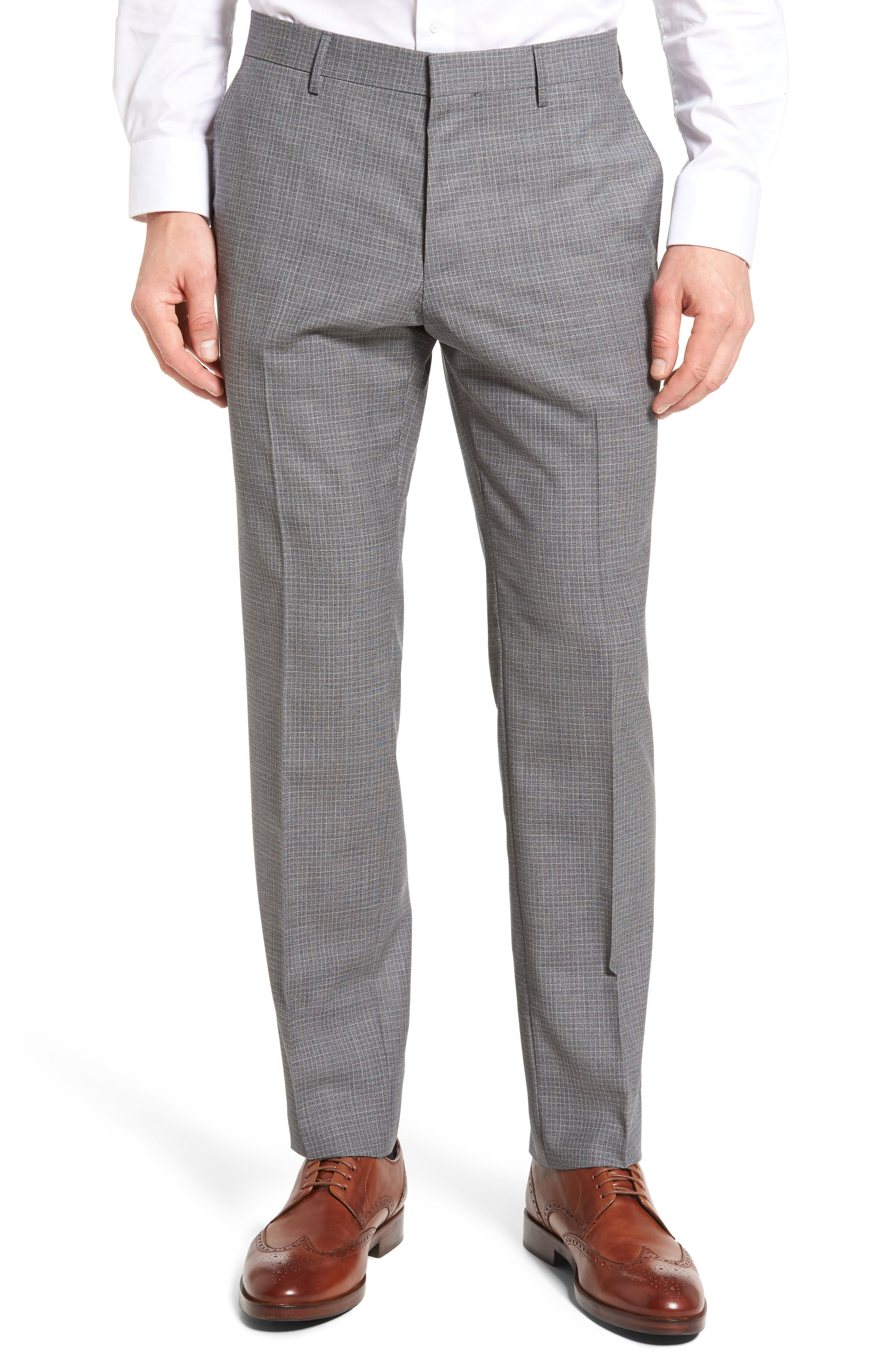 Main Image - BOSS Genesis Flat Front Check Wool Trousers