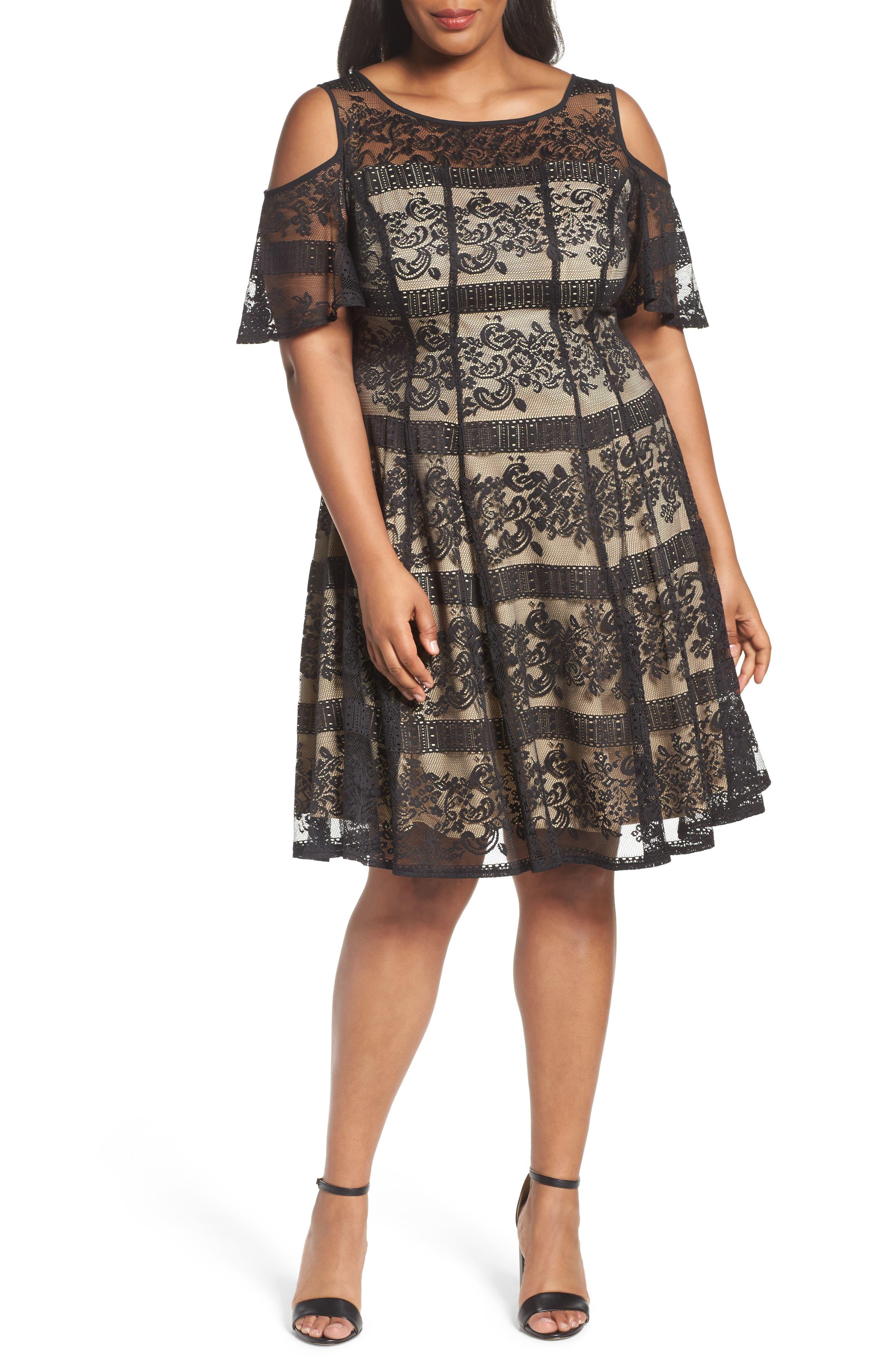 Gabby Skye Cold Shoulder Lace Dress (Plus Size)