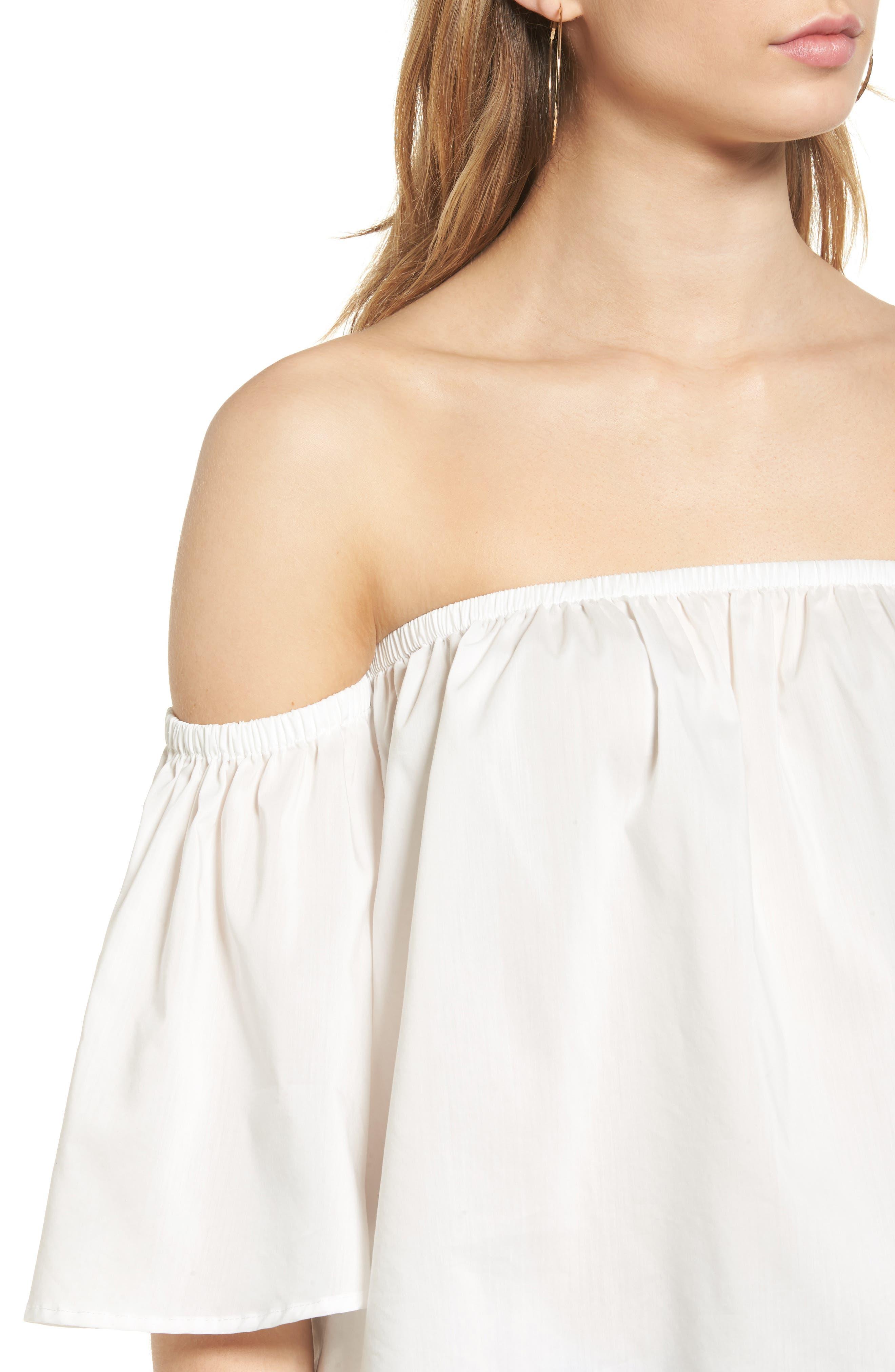 Alternate Image 4  - Elodie Off the Shoulder Flutter Crop Top