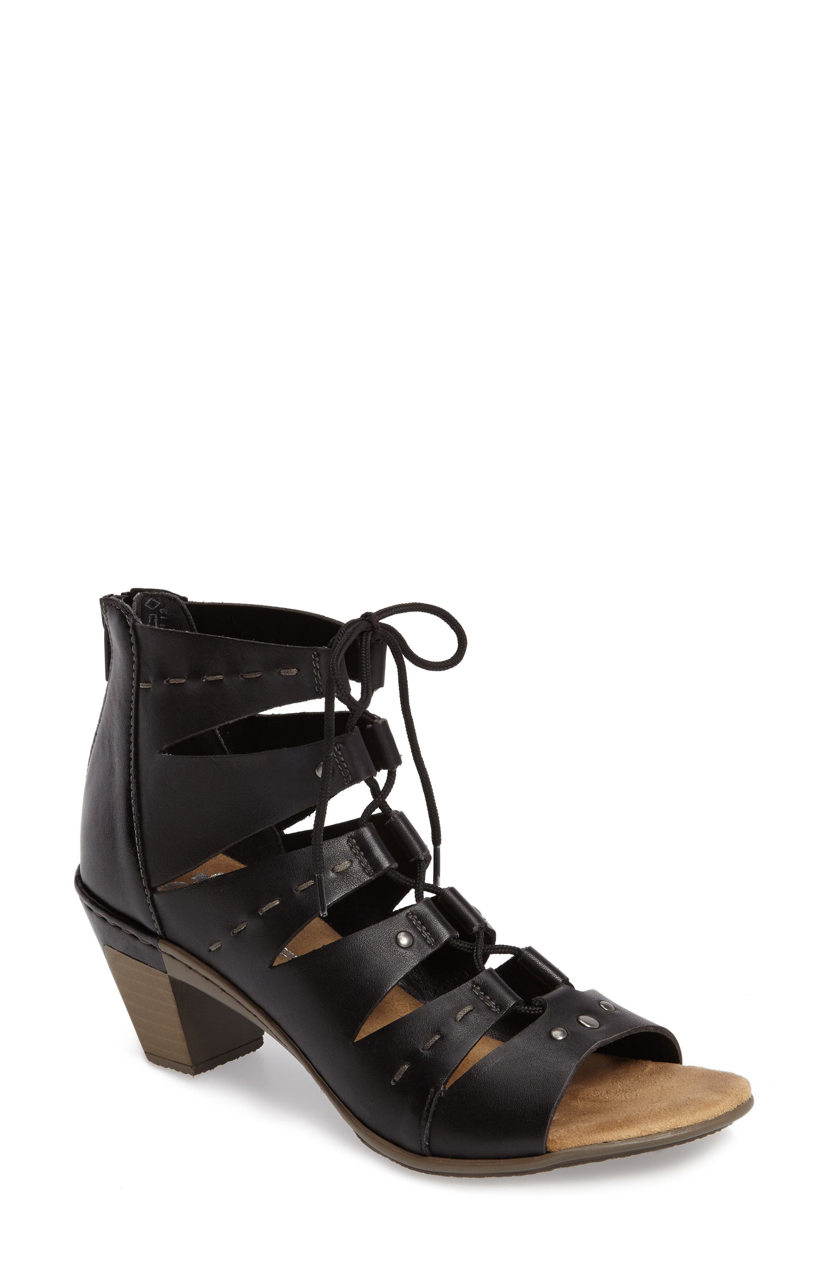 Aileen 99 Ghillie Cage Sandal,                             Main thumbnail 1, color,                             Black Leather