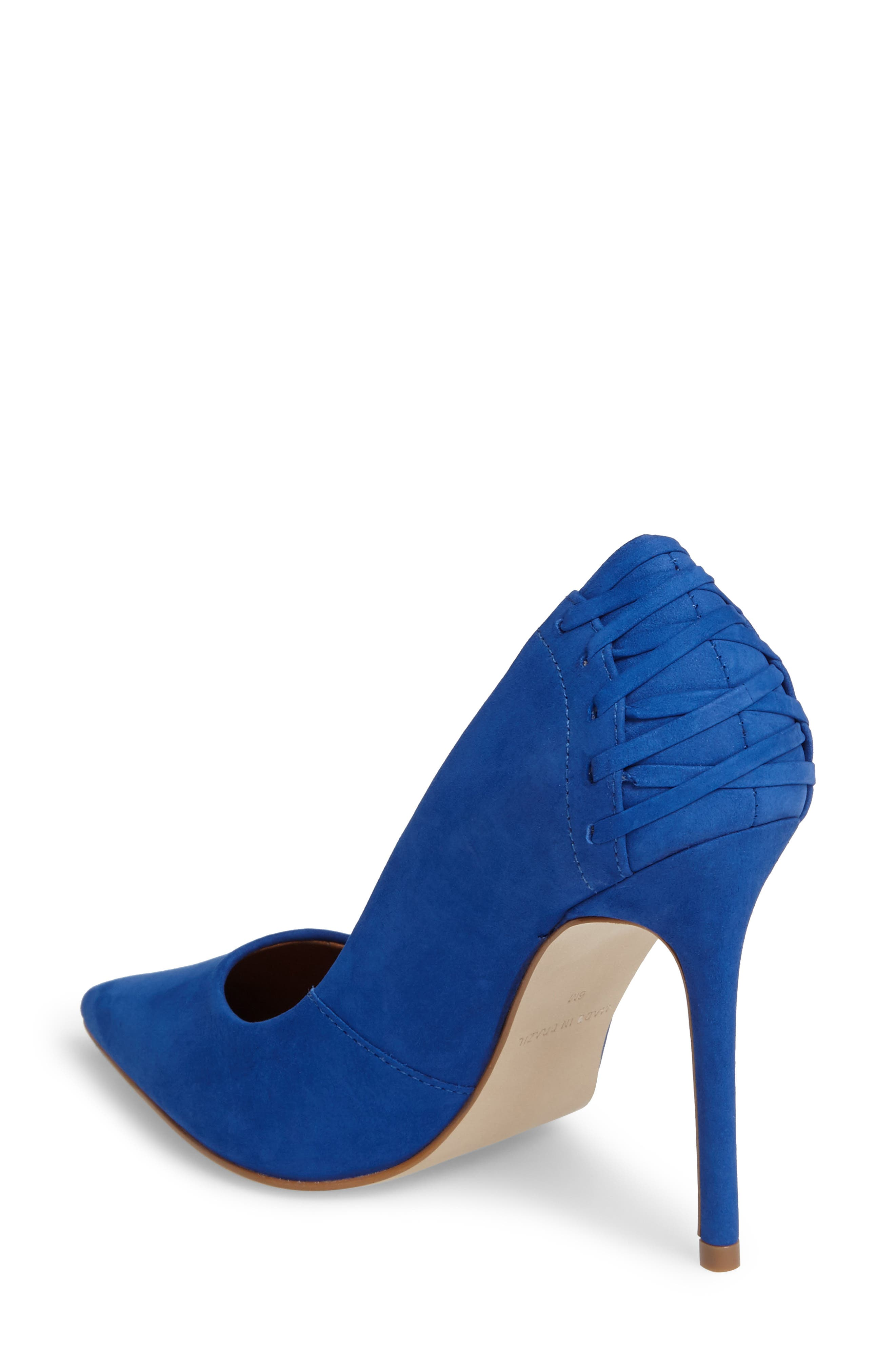 Paiton Laced Heel Pump,                             Alternate thumbnail 2, color,                             Blue Nubuck
