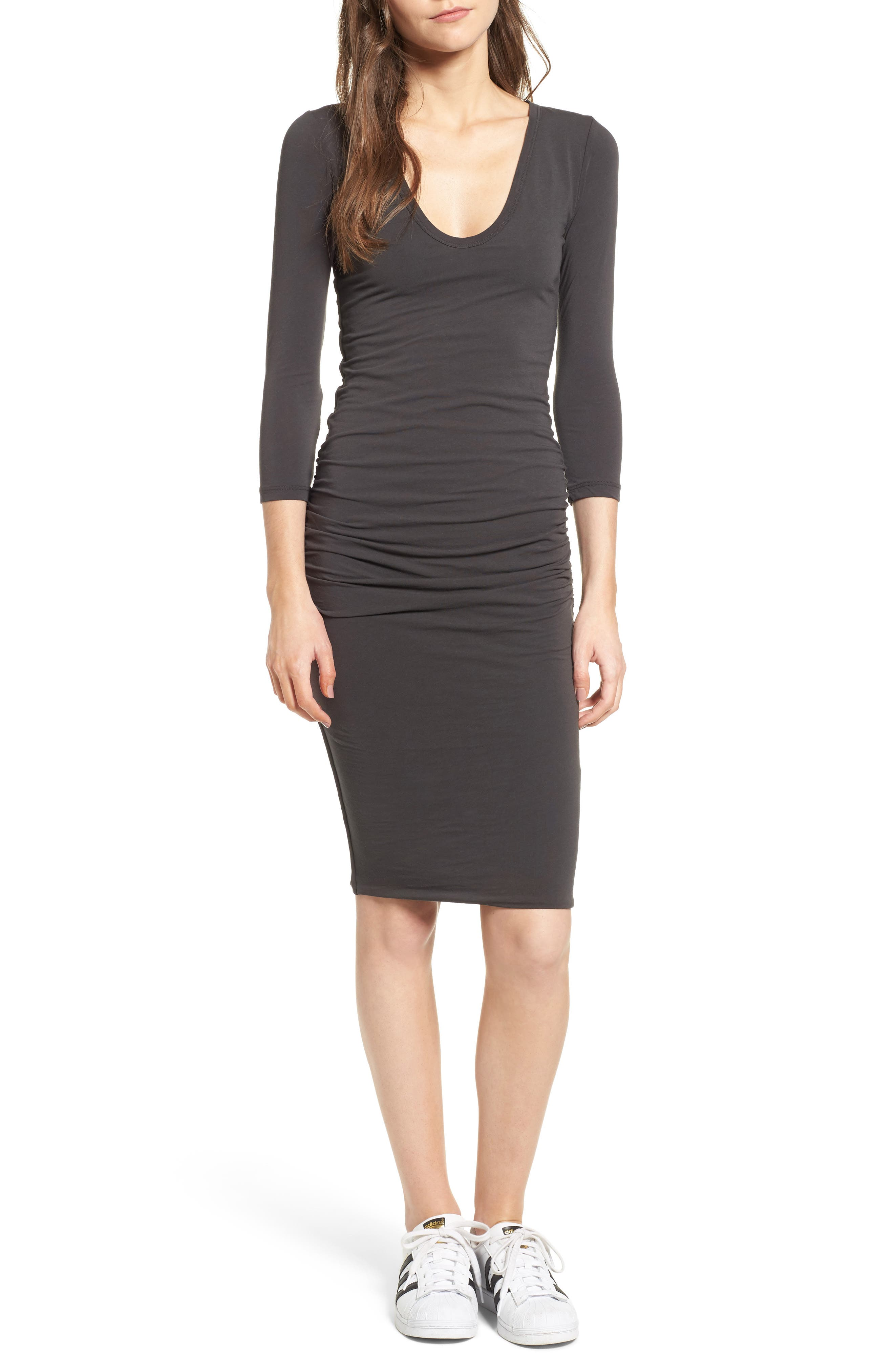 Alternate Image 1 Selected - James Perse V-Neck Ruched Dress