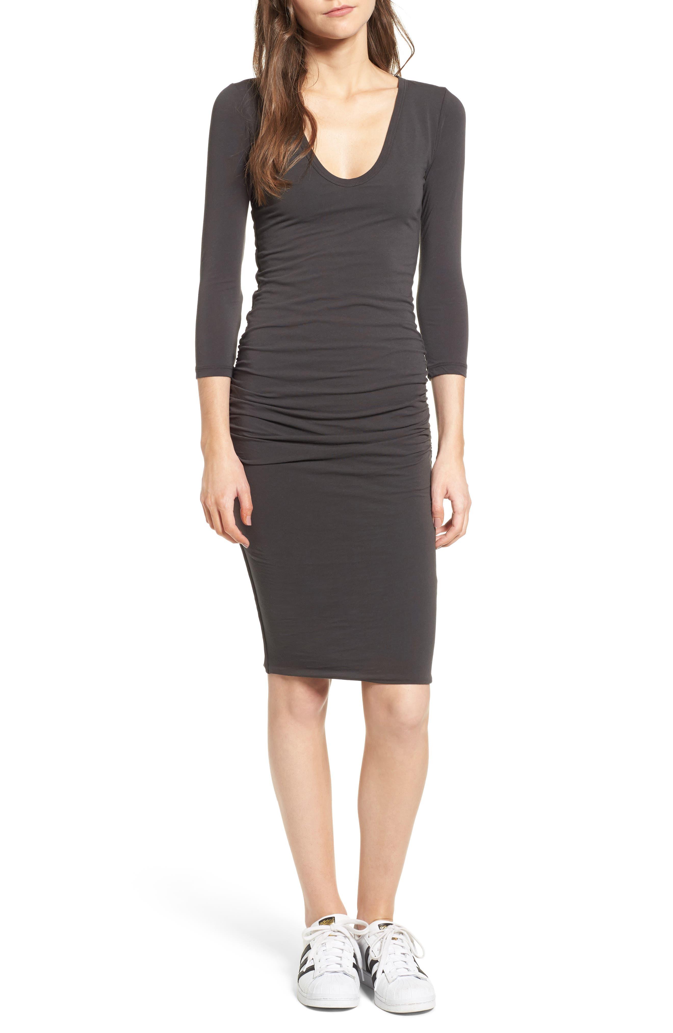 V-Neck Ruched Dress,                         Main,                         color, Carbon