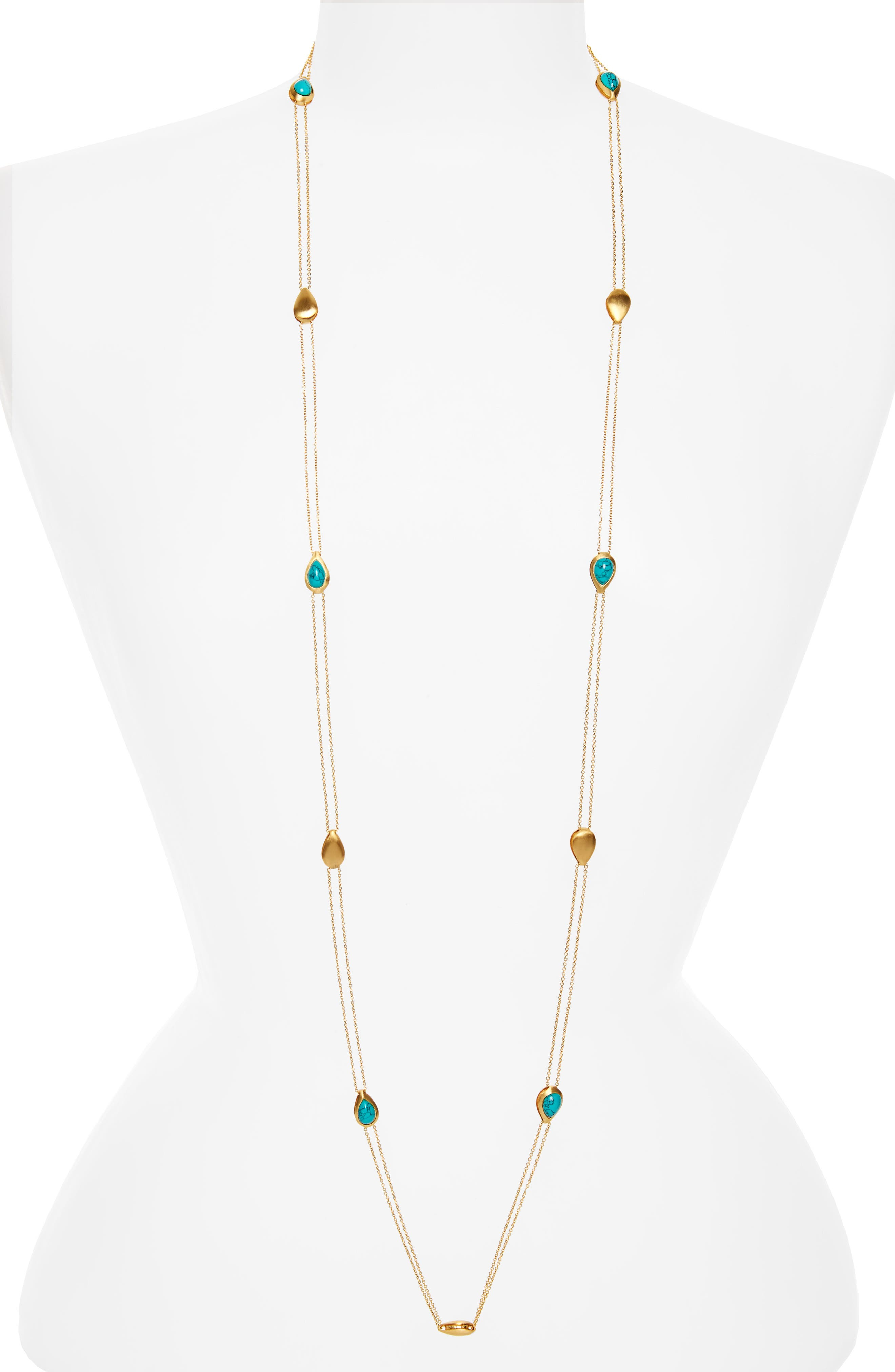 Reign Reversible Charm Necklace,                         Main,                         color, Turquoise/ Rainbow Moonstone