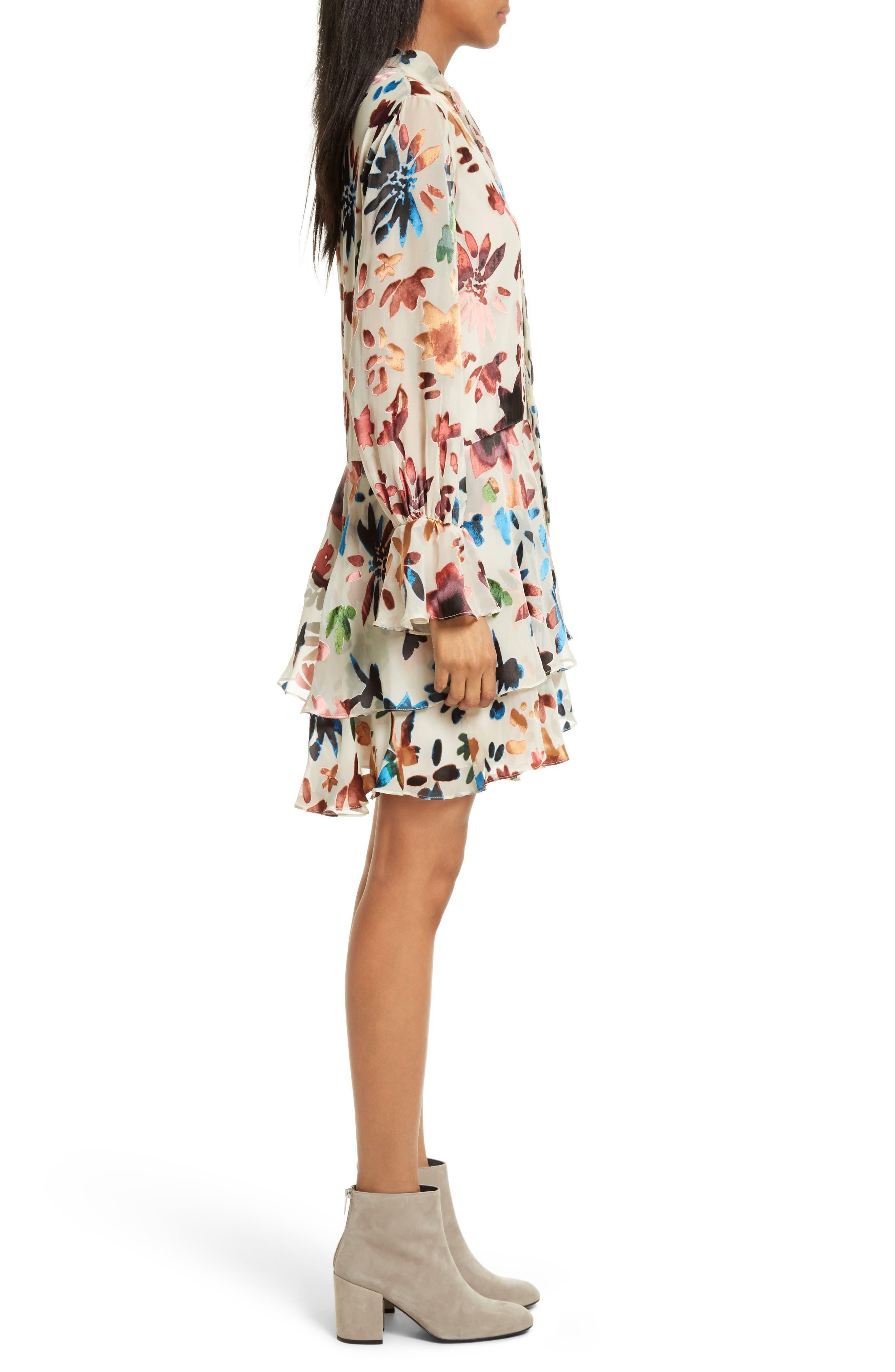 Moran Tiered Floral A-Line Dress,                             Alternate thumbnail 3, color,                             Prisma Floral Burnout