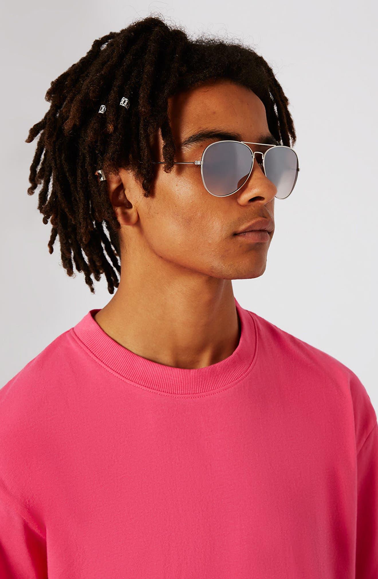 Alternate Image 2  - Topman 58mm Mirrored Aviator Sunglasses
