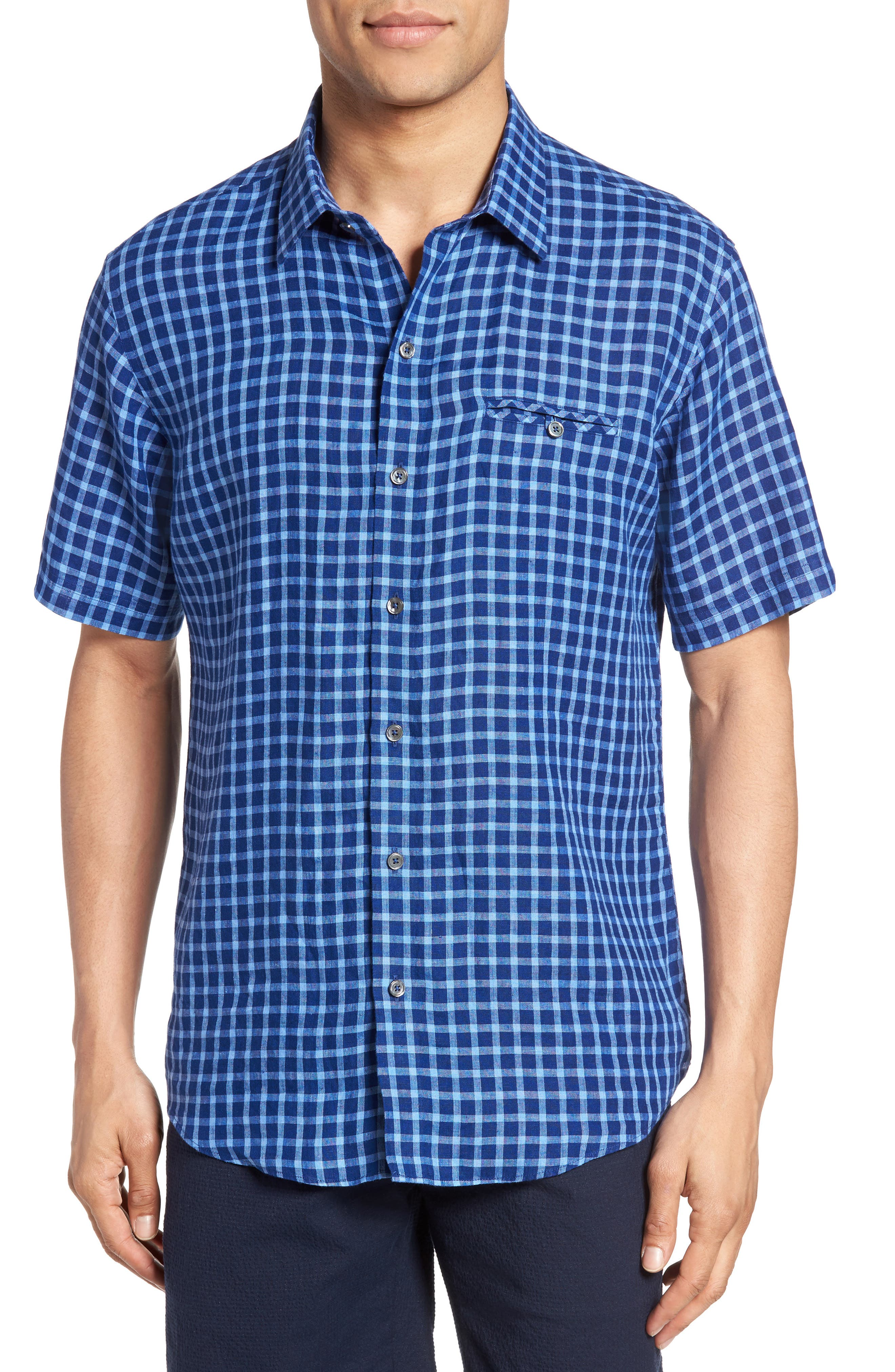 Ray Plaid Linen Sport Shirt,                         Main,                         color, Pacific
