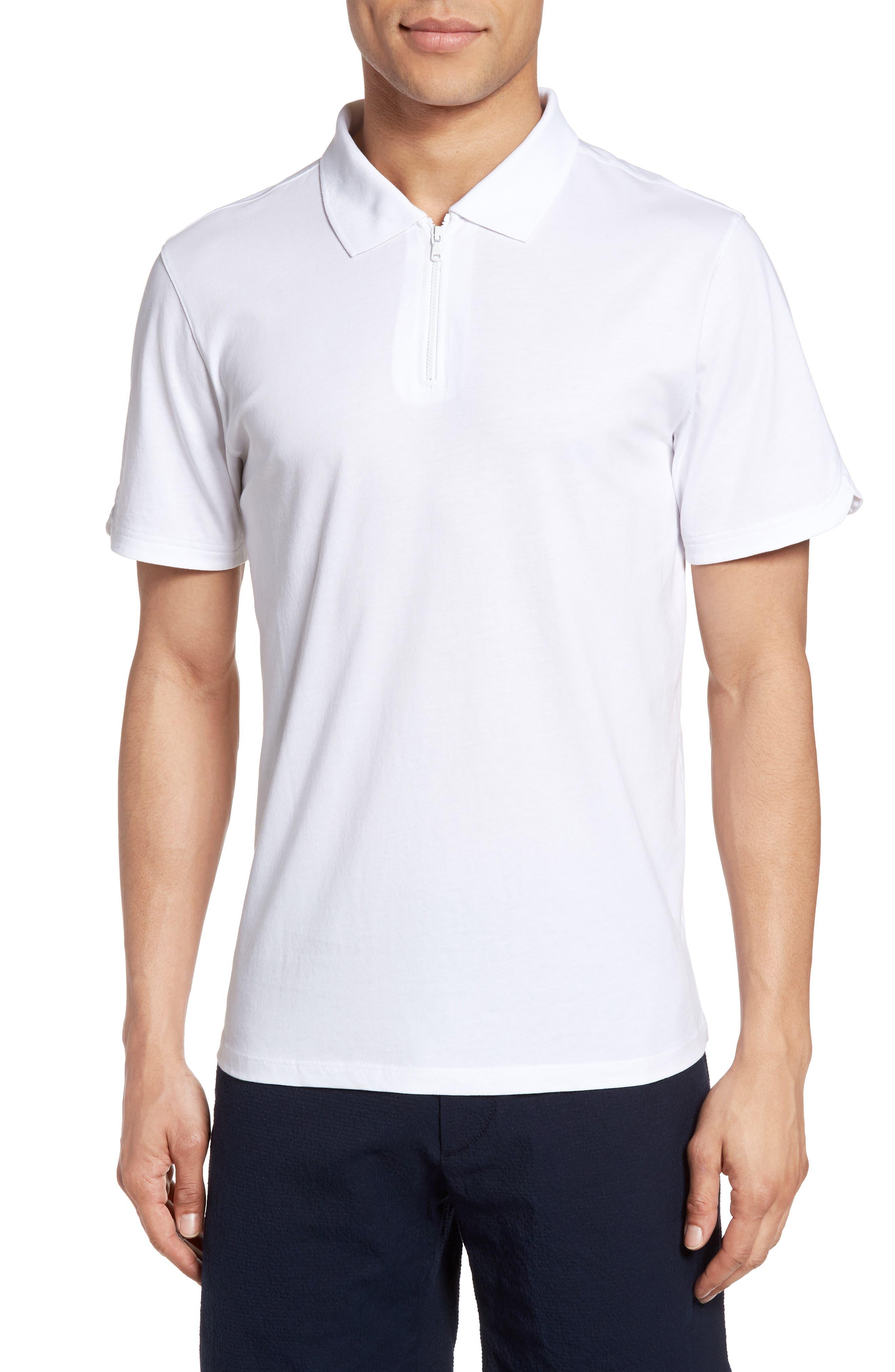 Libani Zip Polo,                             Main thumbnail 1, color,                             White