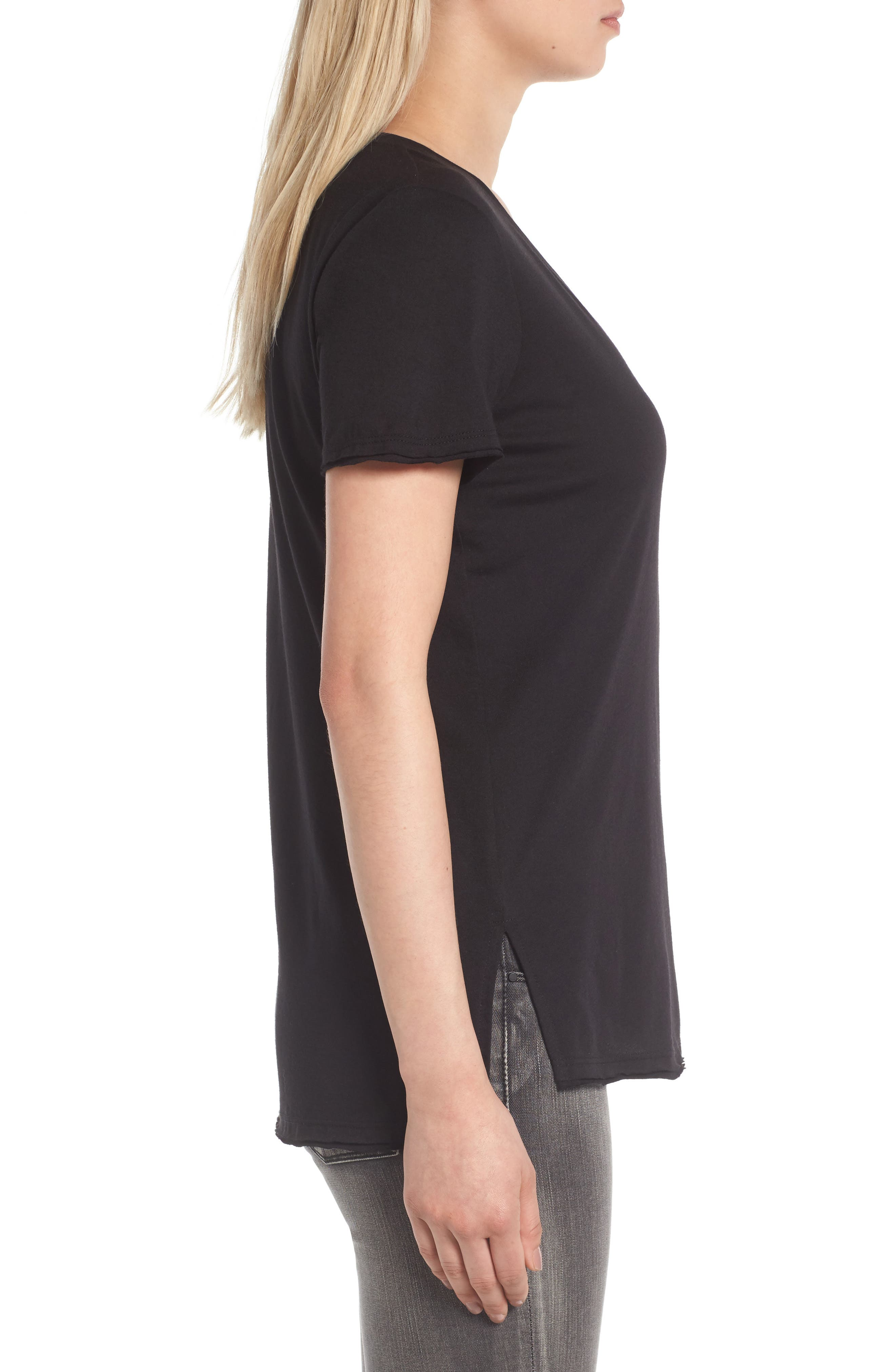 Raw Edge Side Slit Tee,                             Alternate thumbnail 3, color,                             Black