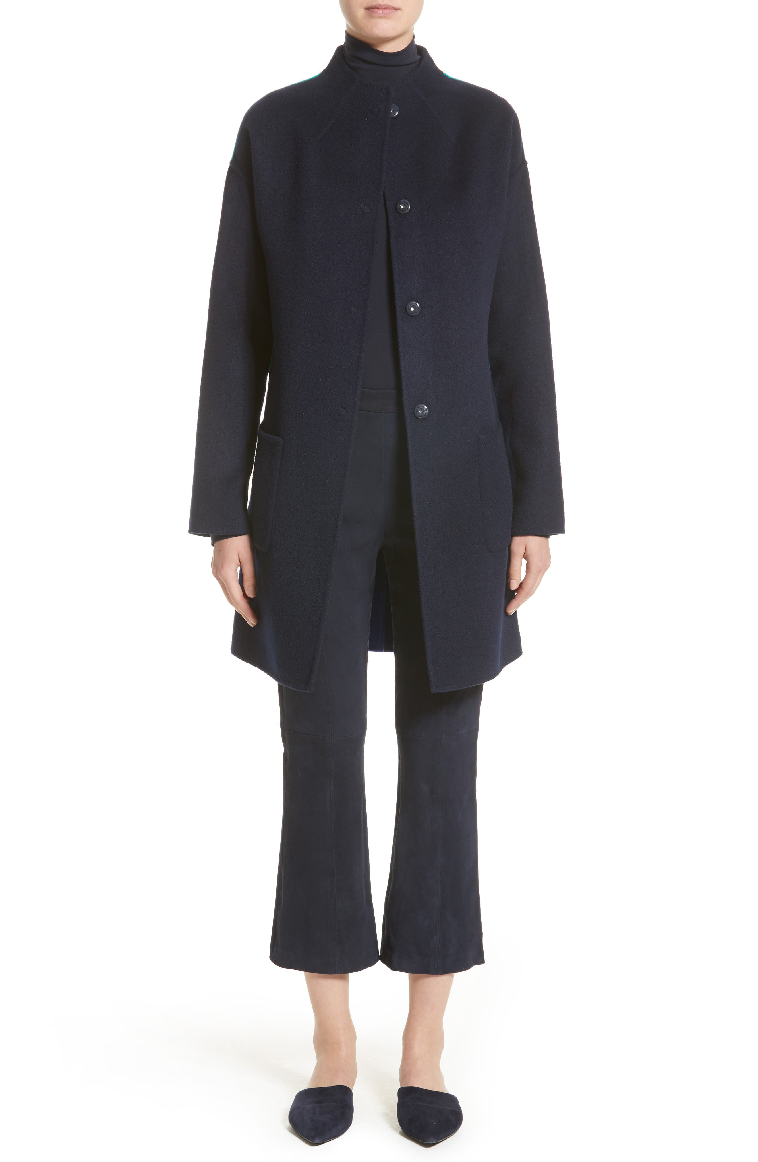 Alternate Image 8  - St. John Collection Colorblock Double Face Wool Blend Coat