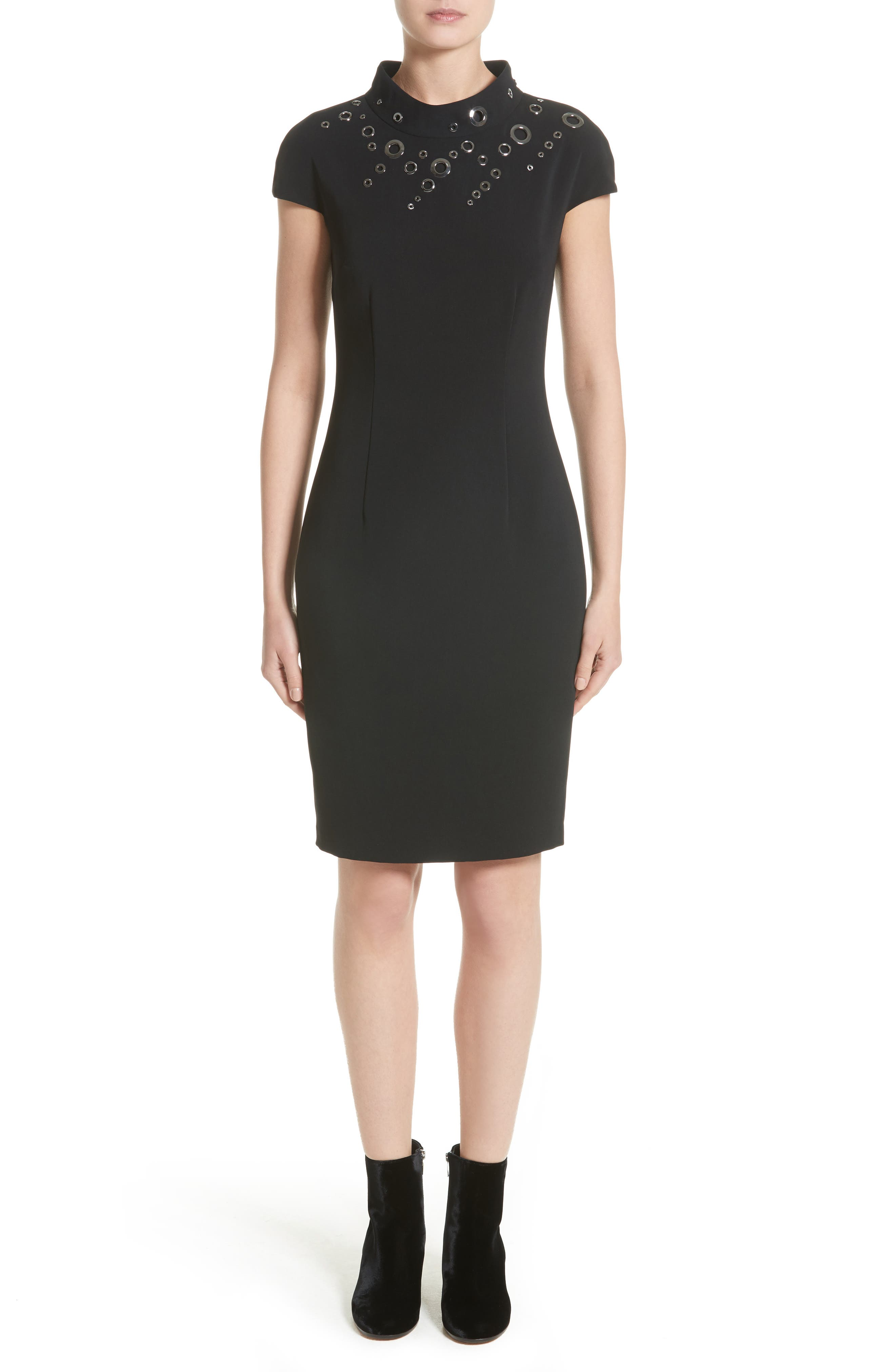 Main Image - St. John Collection Stretch Cady Funnel Neck Dress