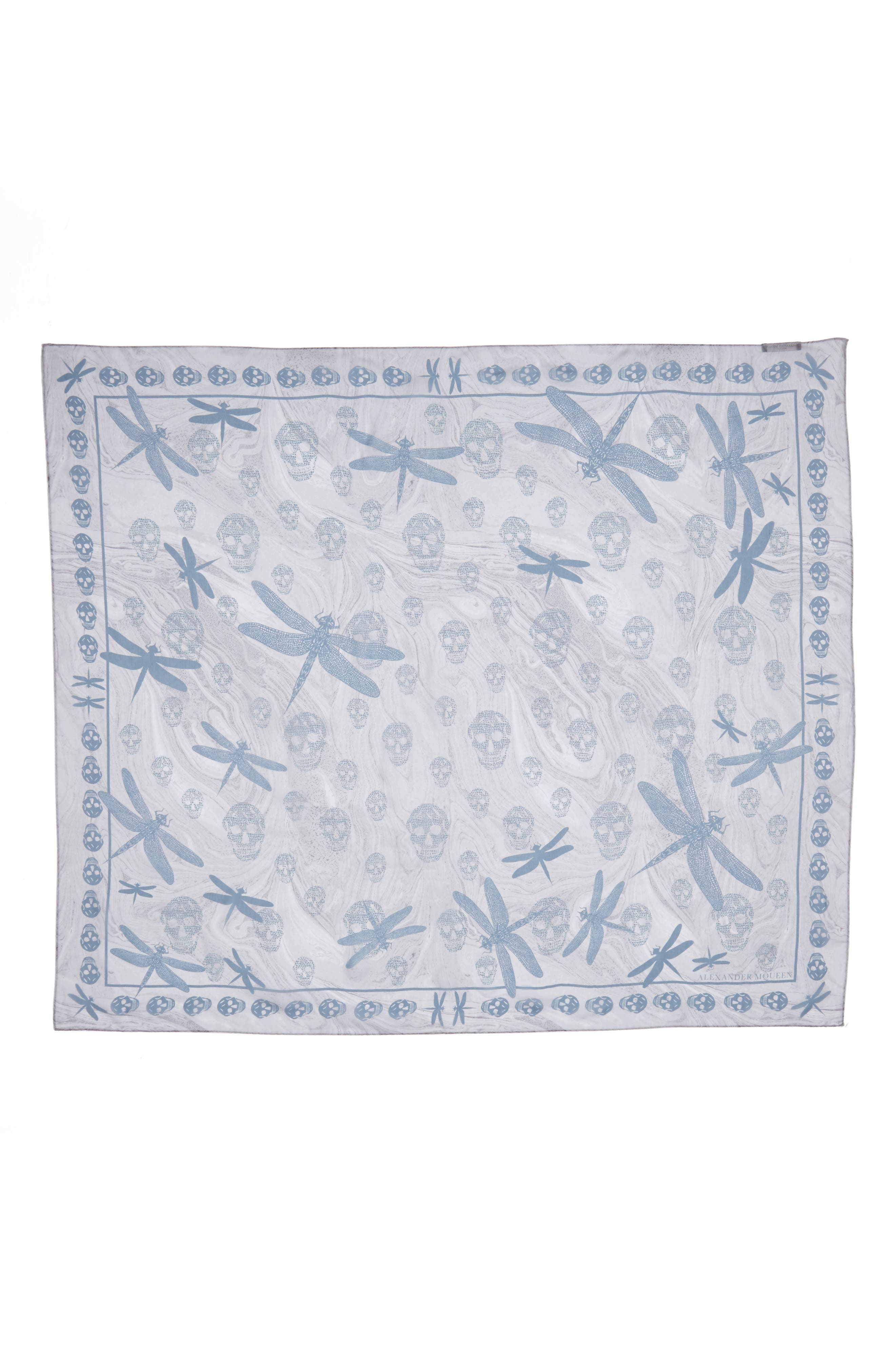 Graphic Dragonfly Silk Scarf,                             Main thumbnail 1, color,                             Pearl/ Blue