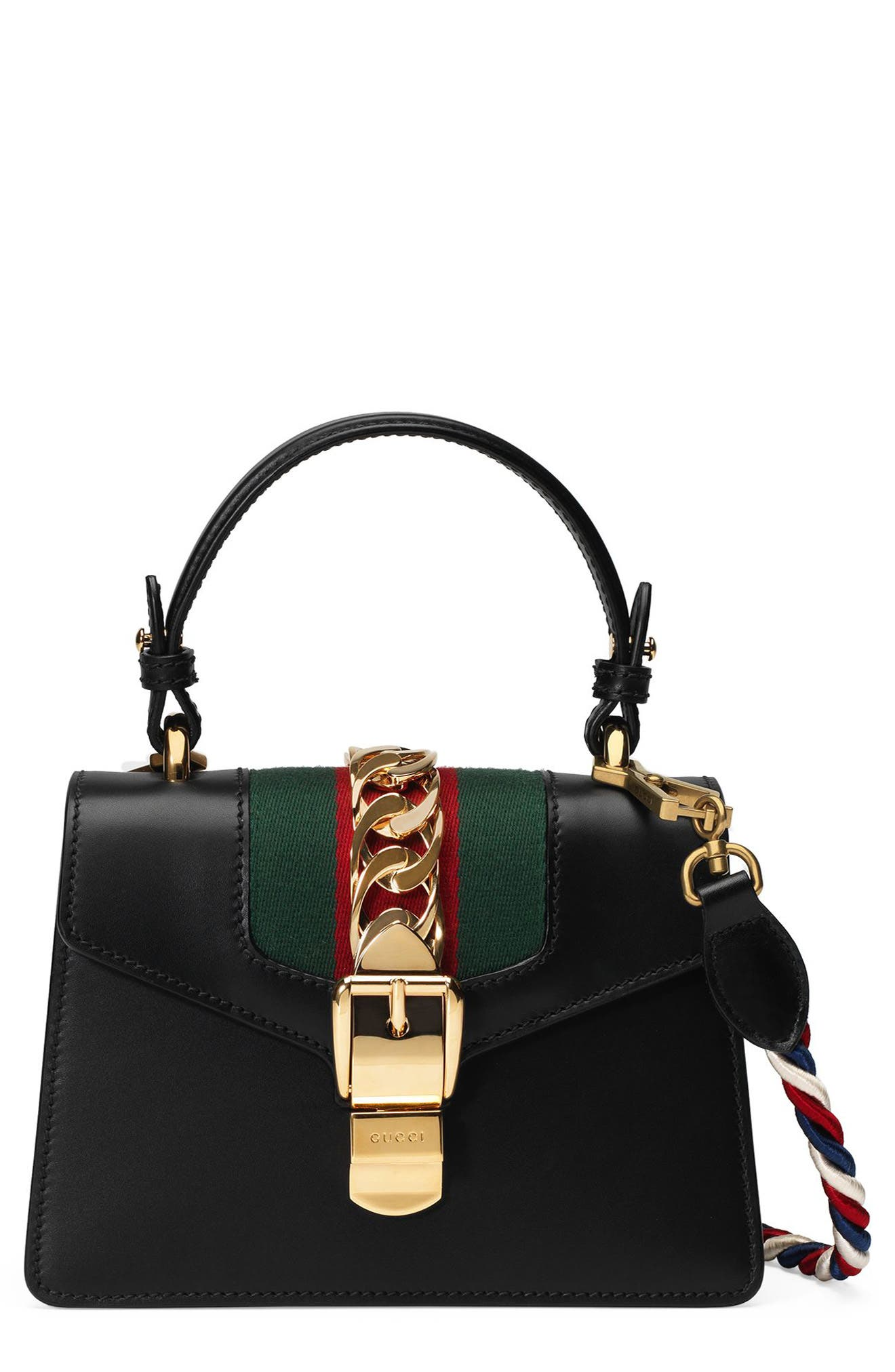 Alternate Image 1 Selected - Gucci Mini Sylvie Top Handle Leather Shoulder Bag
