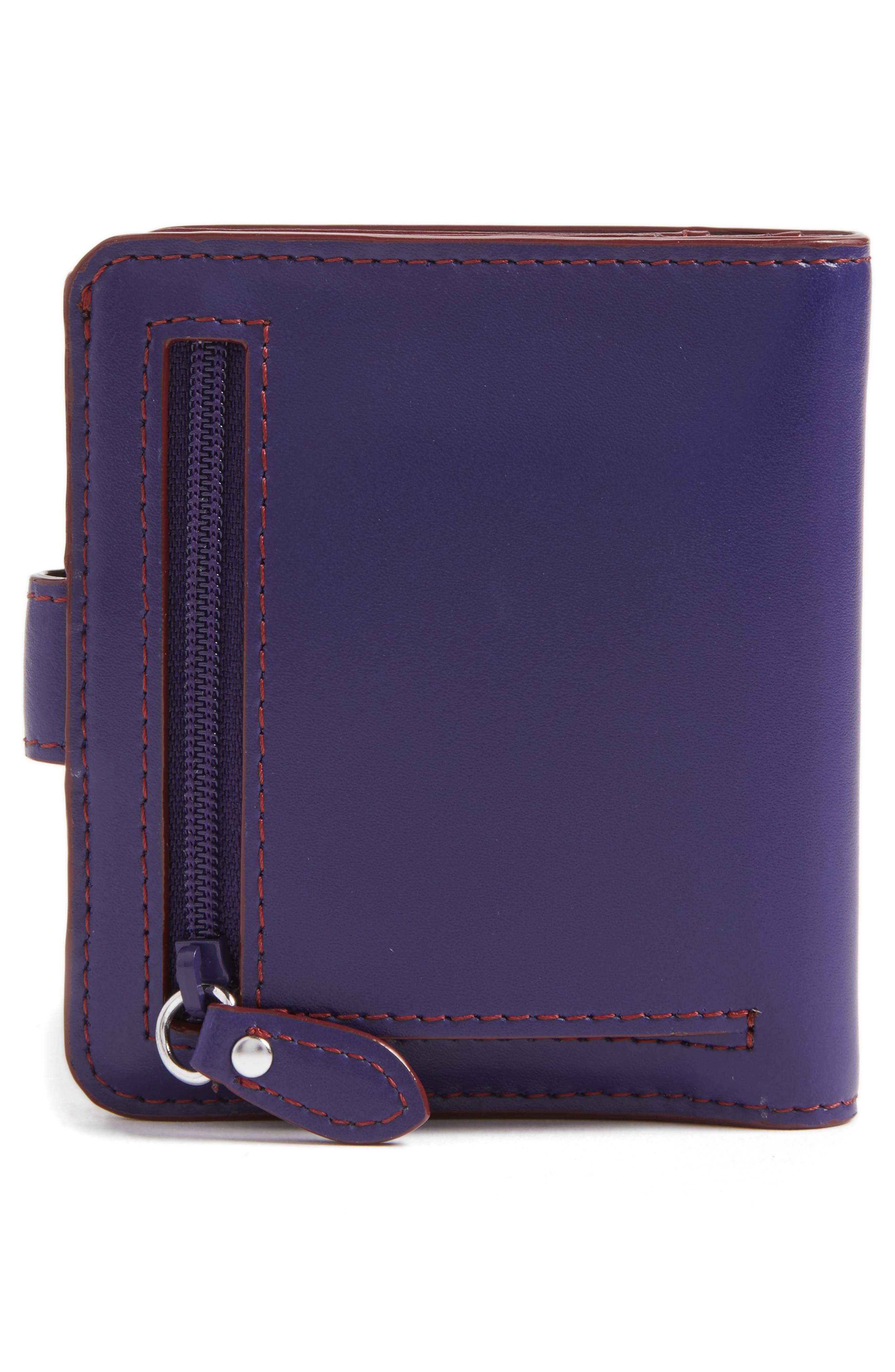 Lodis Petite Audrey RFID Leather Wallet,                             Alternate thumbnail 4, color,                             Midnight/ Chianti