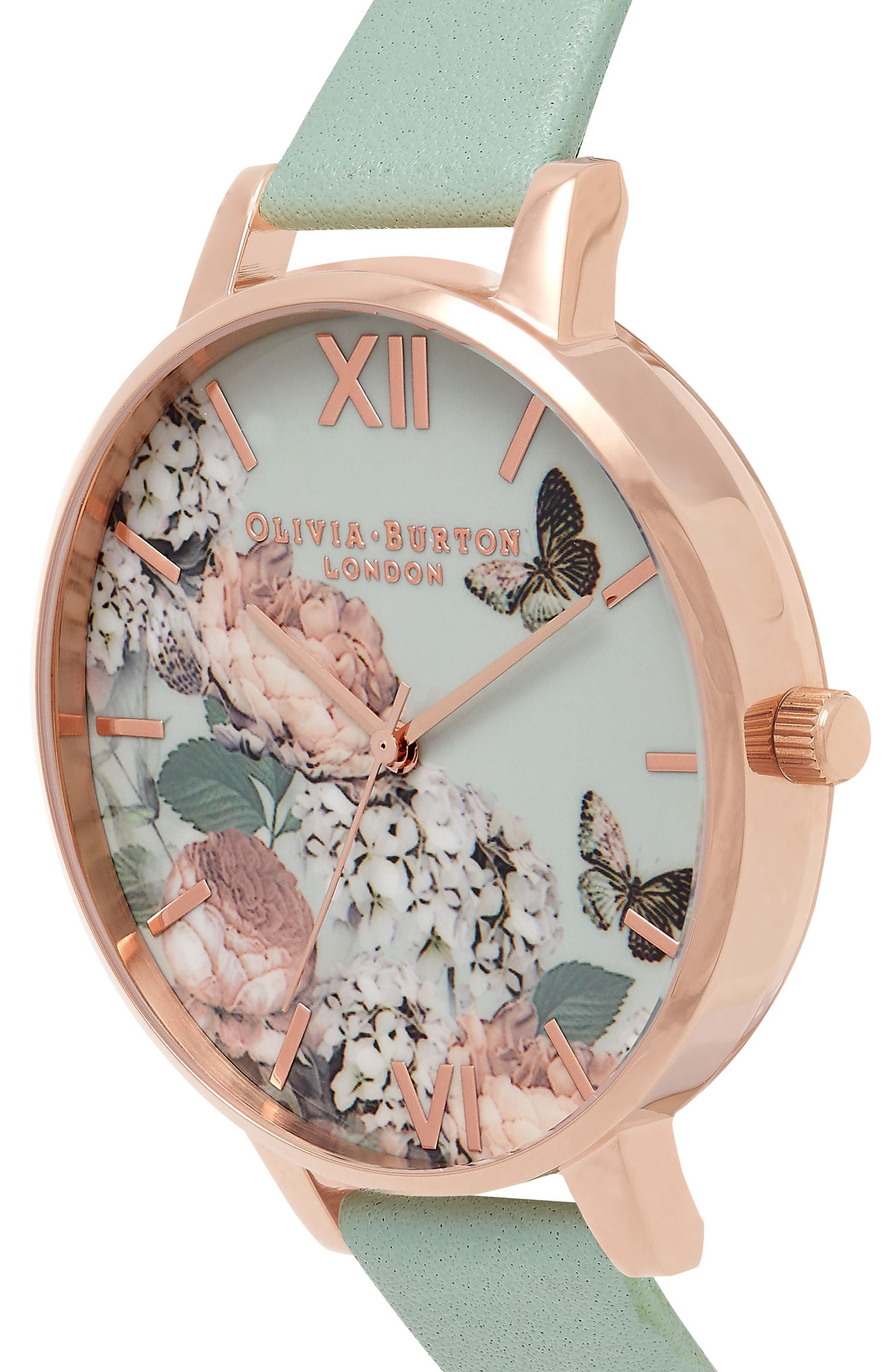 Enchanted Garden Leather Strap Watch, 38mm,                             Alternate thumbnail 4, color,                             Mint/ Floral/ Rose Gold