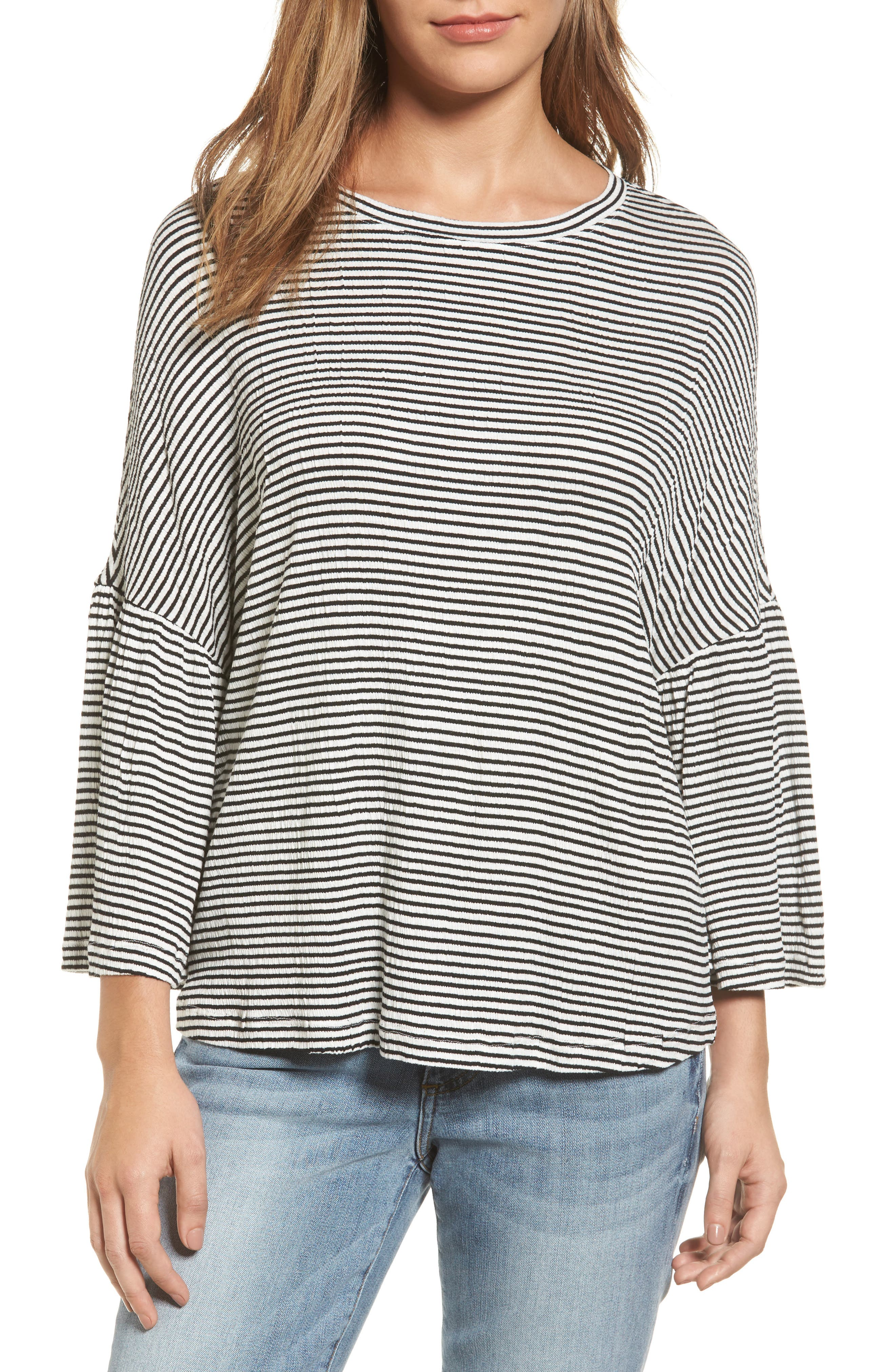 Caslon® Stripe Bell Sleeve Tee (Regular & Petite)