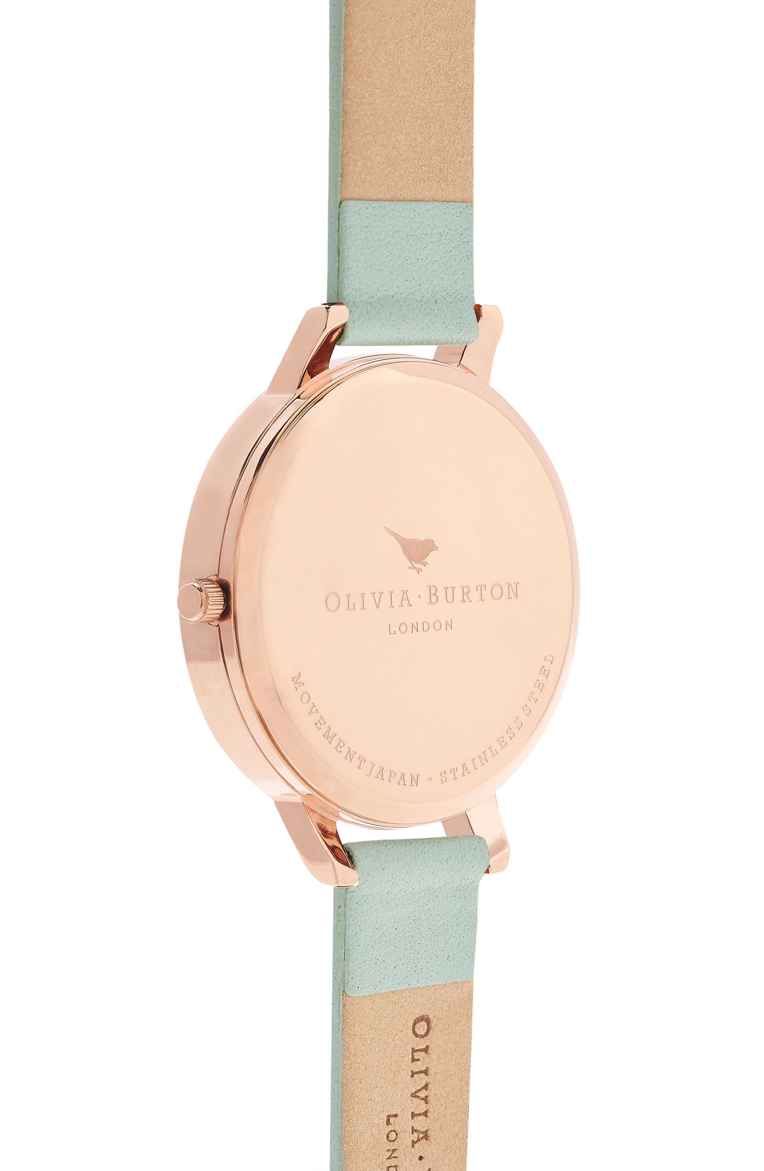 Enchanted Garden Leather Strap Watch, 38mm,                             Alternate thumbnail 3, color,                             Mint/ Floral/ Rose Gold