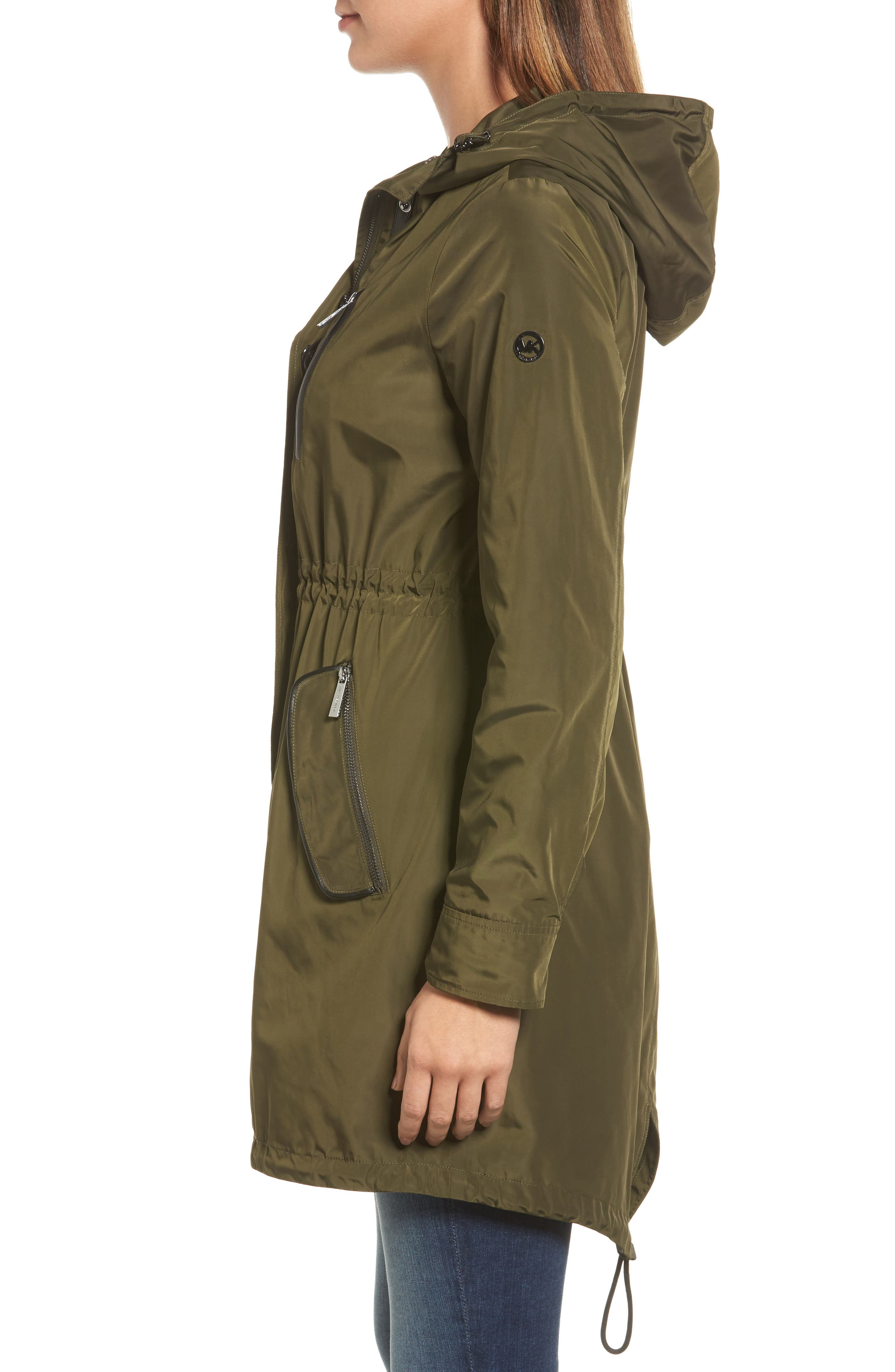 Hooded Drawstring Long Coat,                             Alternate thumbnail 4, color,                             Olive