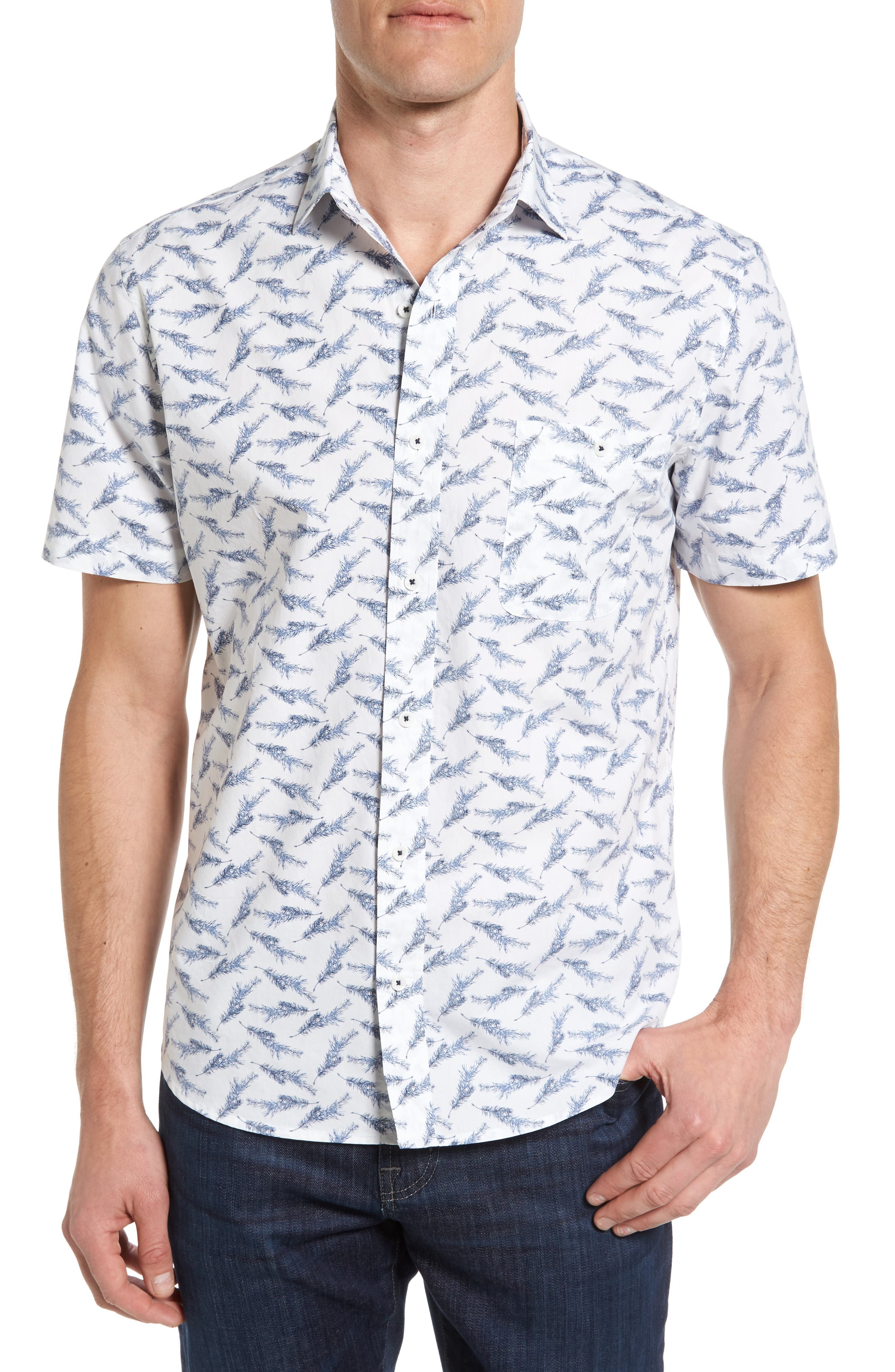 Maker & Company Tailored Fit Feather Print Sport Shirt
