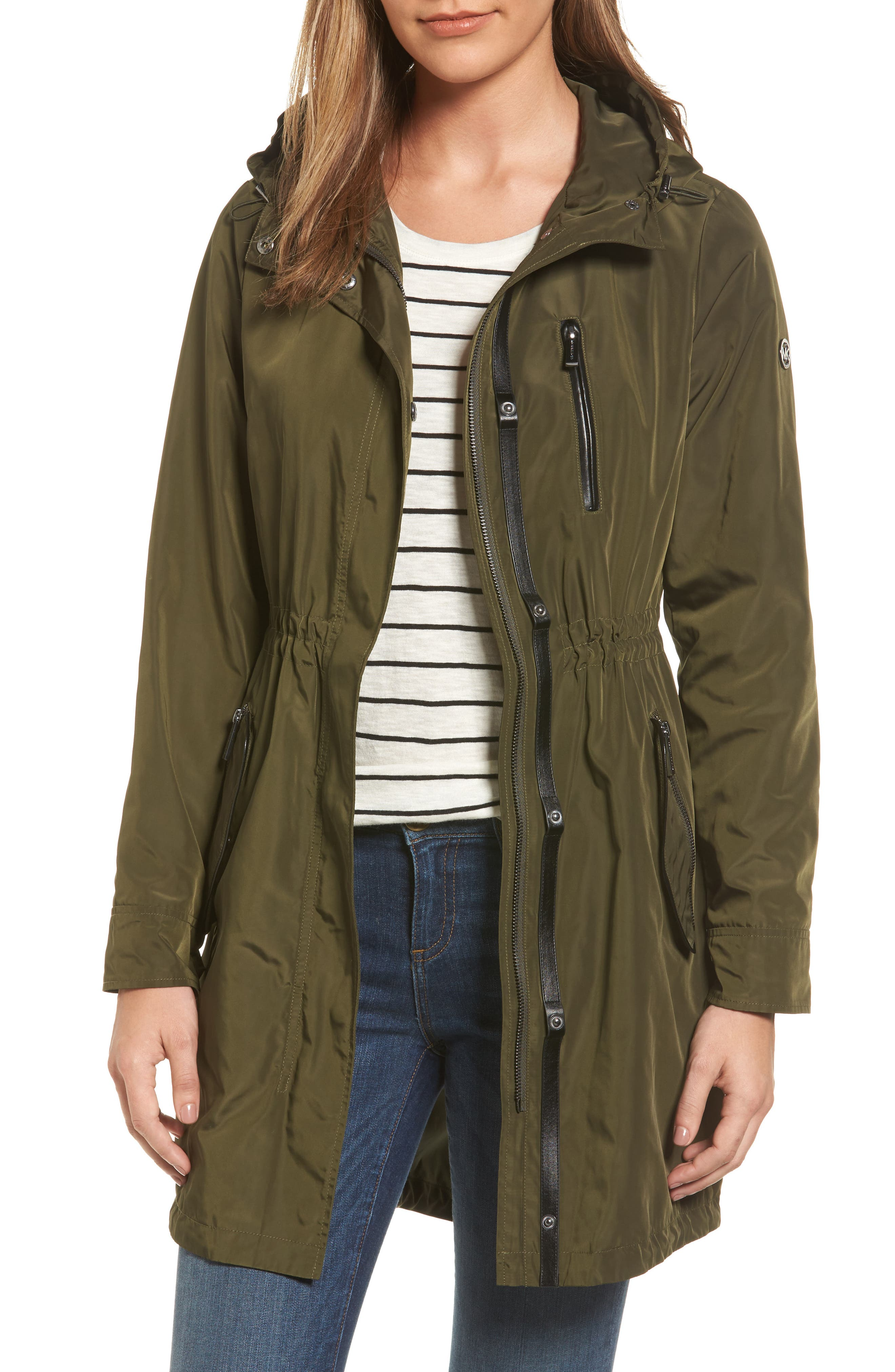 Hooded Drawstring Long Coat,                         Main,                         color, Olive