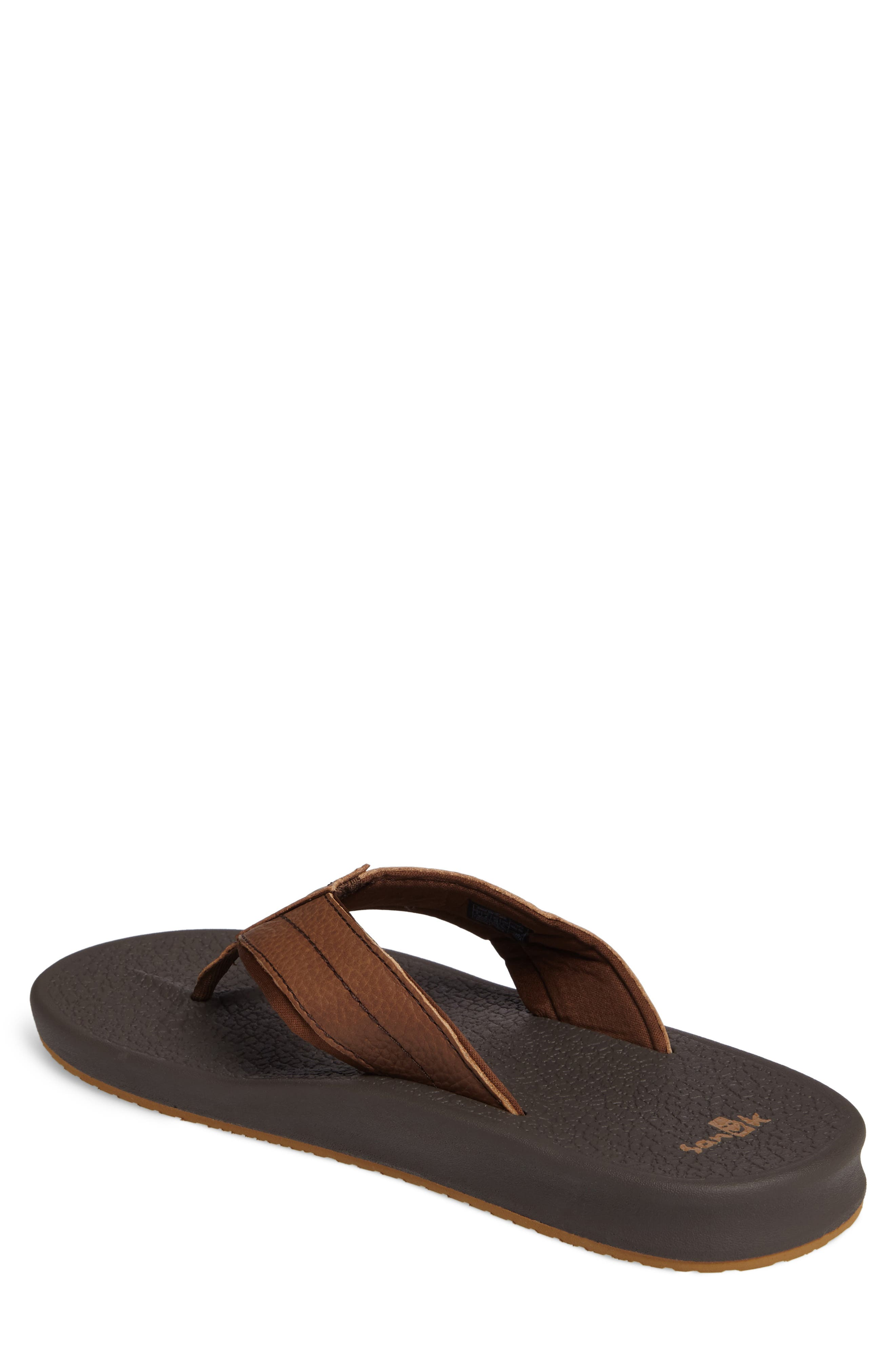 Brumesiter Primo Flip Flop,                             Alternate thumbnail 2, color,                             Brown Leather
