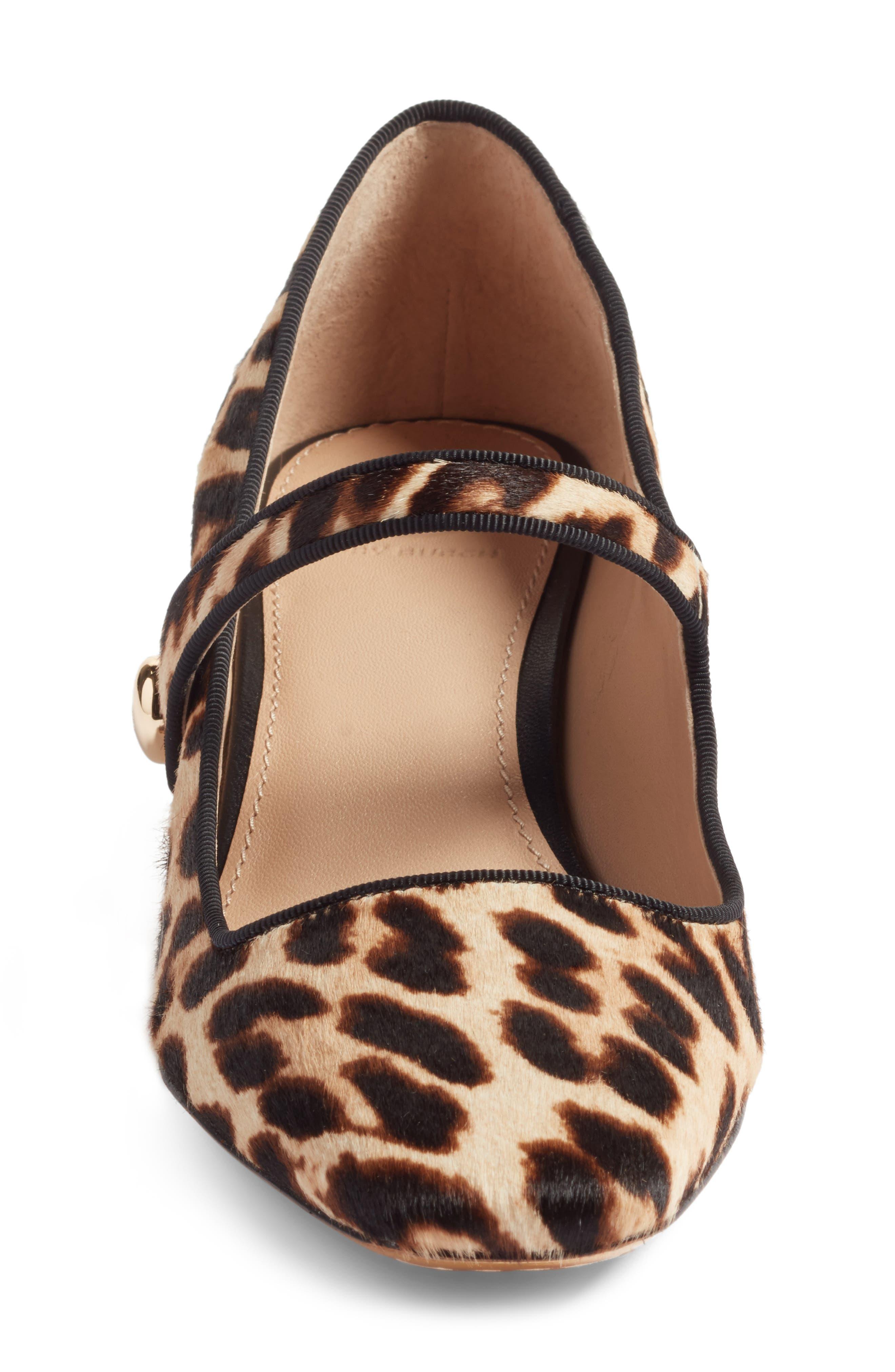 Marisa Genuine Calf Hair Mary Jane Pump,                             Alternate thumbnail 3, color,                             Natural Leopard/ Black