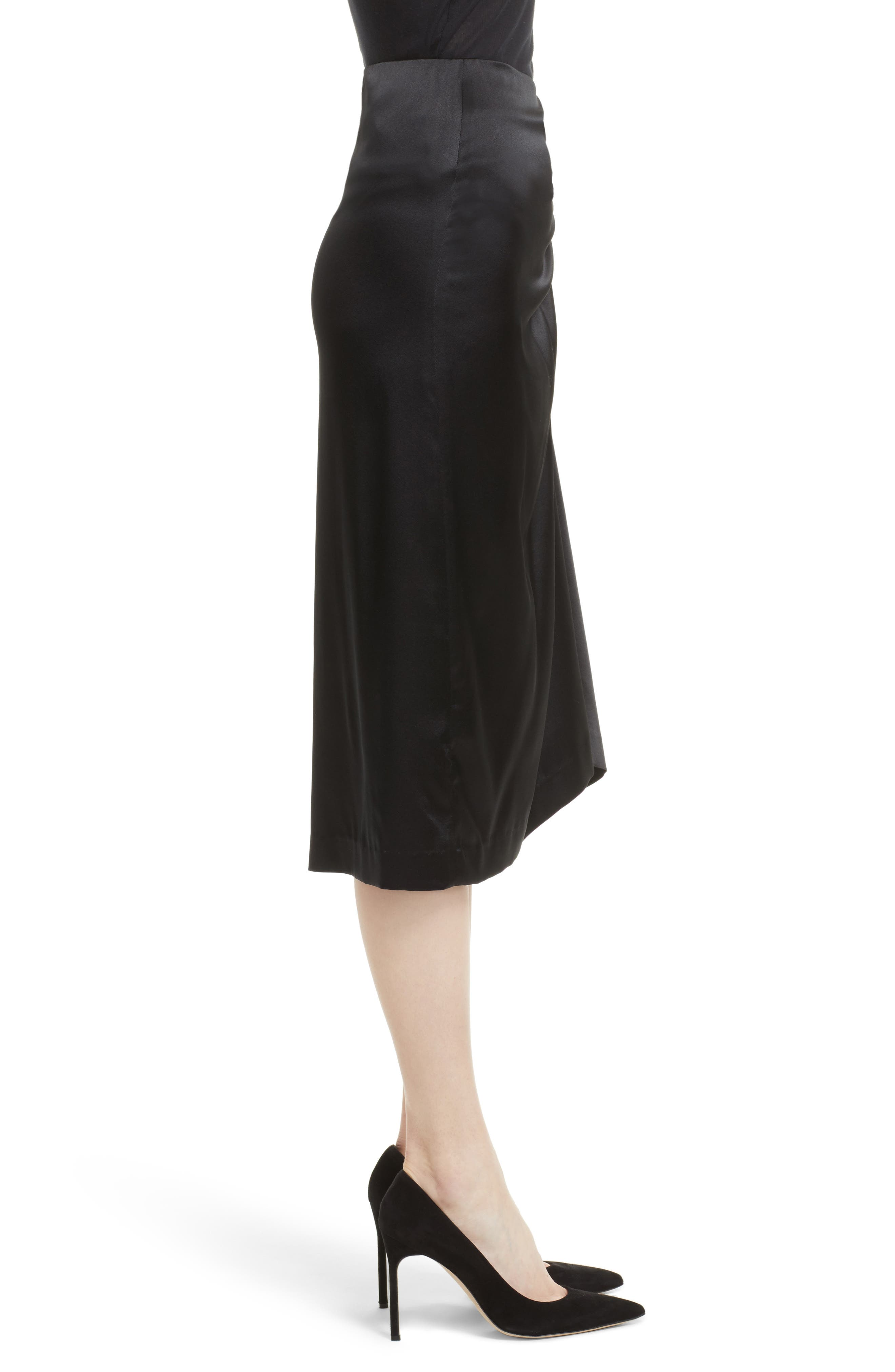 Ruched Stretch Satin Skirt,                             Alternate thumbnail 3, color,                             Black