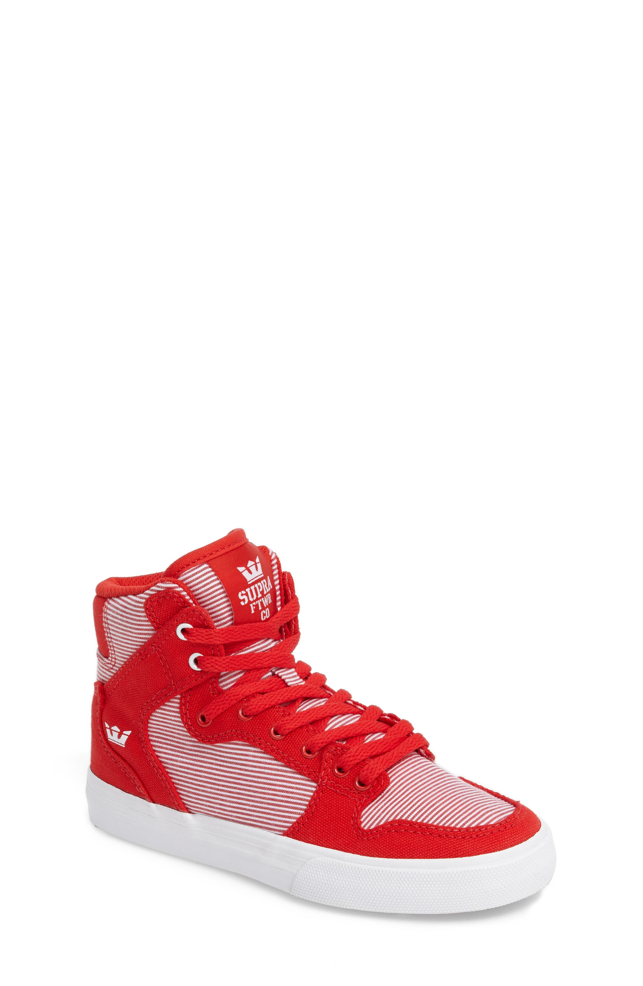 Vaider High Top Sneaker,                         Main,                         color, Red/ White