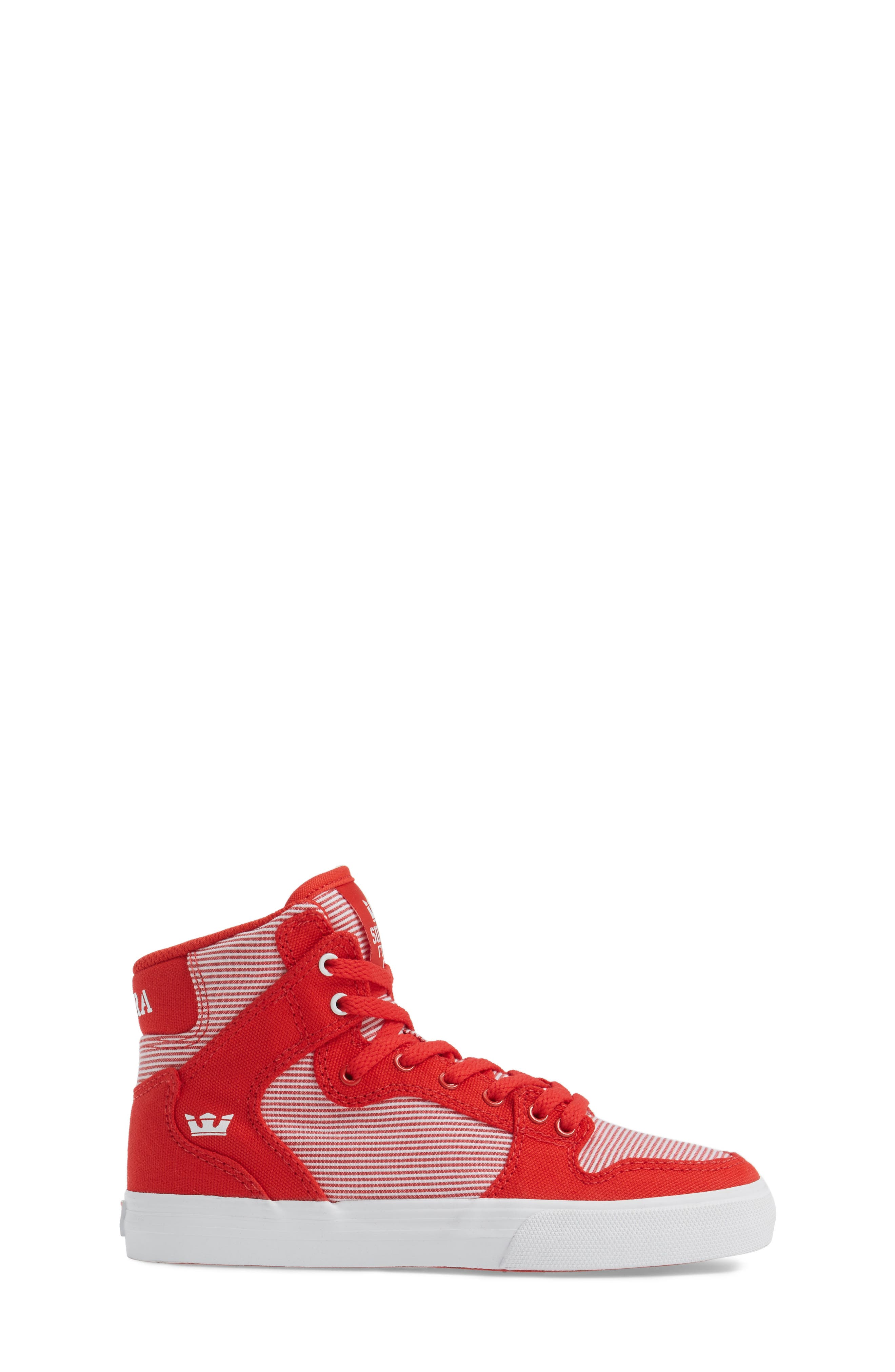 Vaider High Top Sneaker,                             Alternate thumbnail 3, color,                             Red/ White
