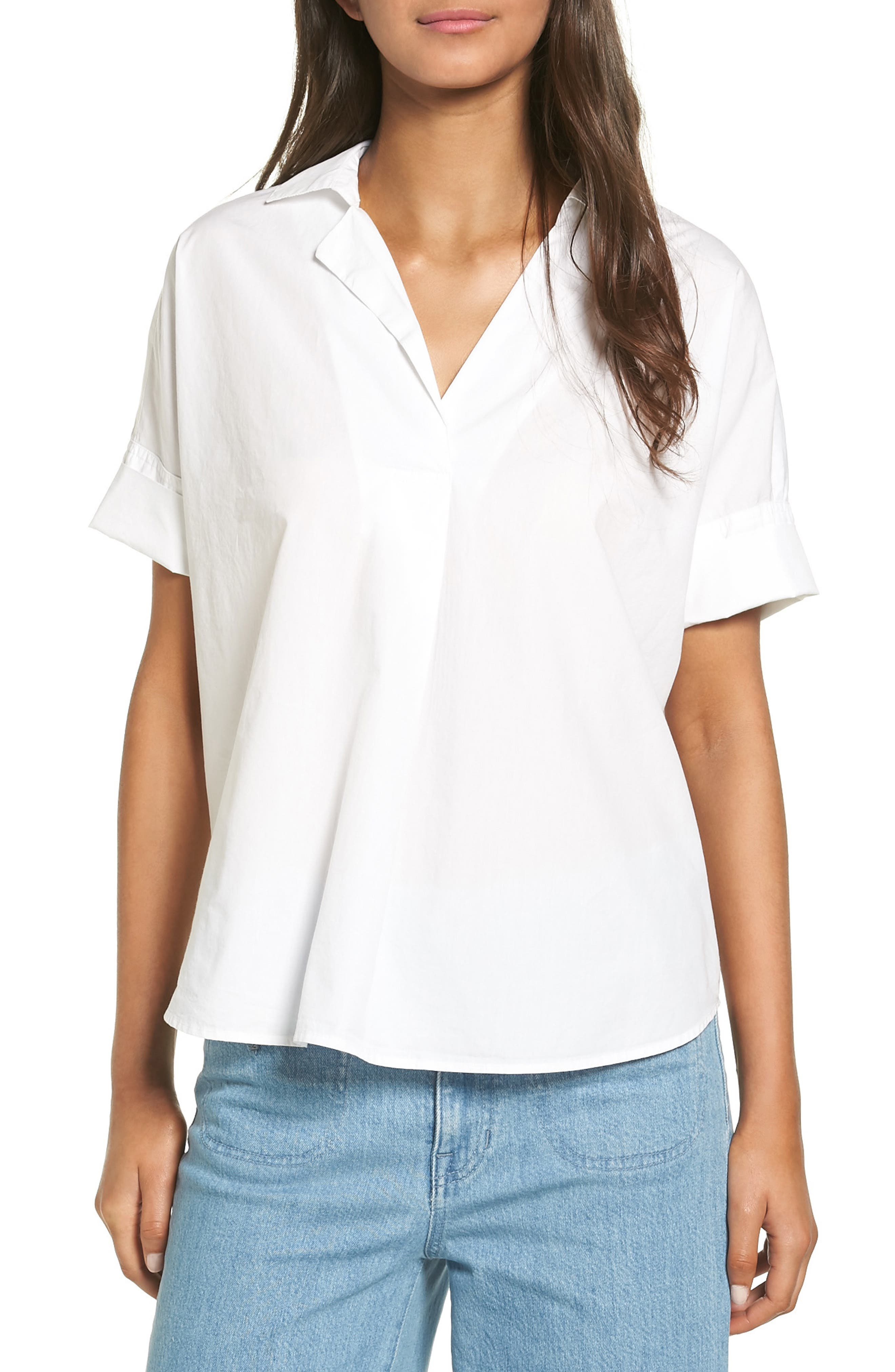 Courier Cotton Shirt,                         Main,                         color, Eyelet White