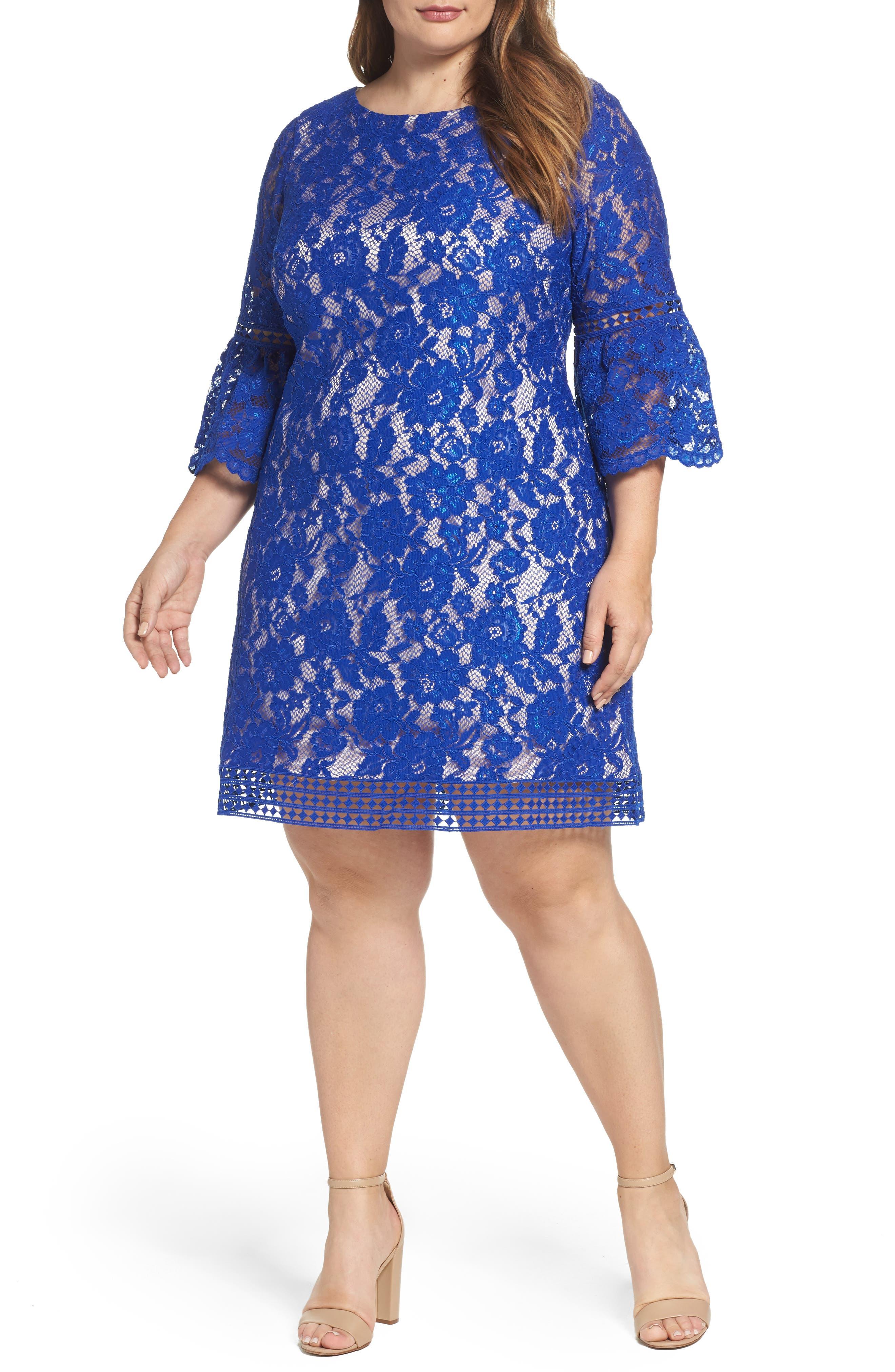ELIZA J Bell Sleeve Lace Shift Dress
