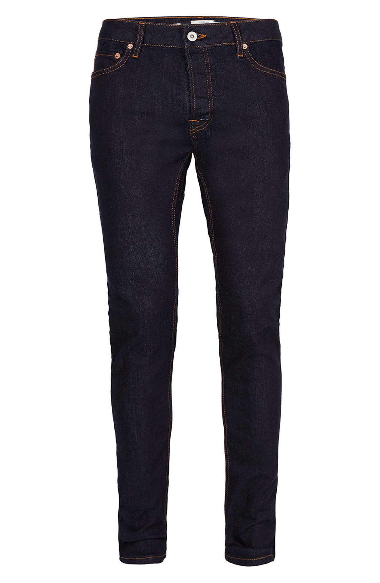 Alternate Image 6  - Topman Stretch Skinny Fit Raw Denim Jeans