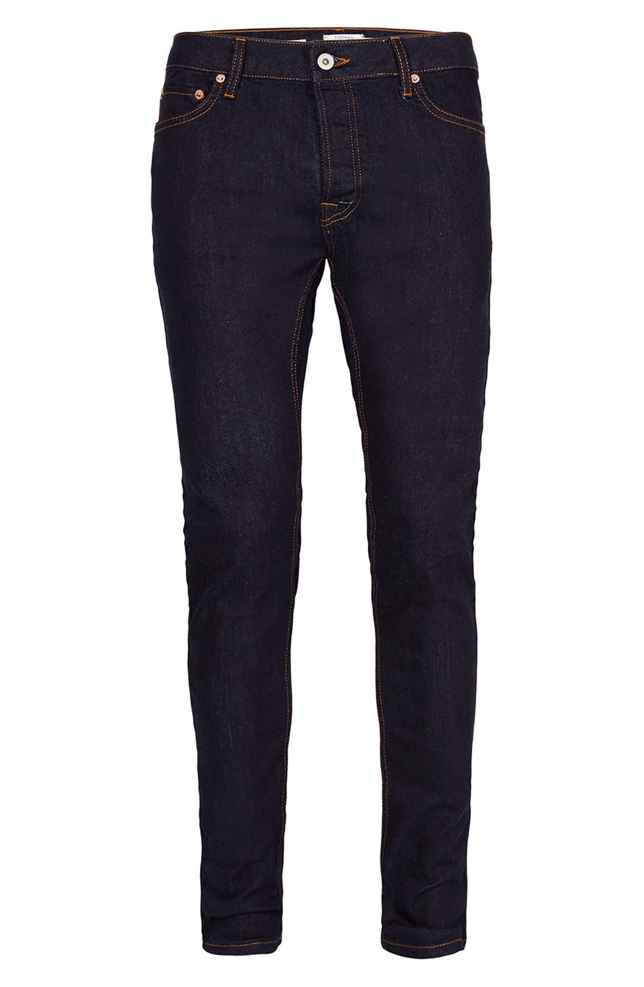 Stretch Skinny Fit Raw Denim Jeans,                             Alternate thumbnail 6, color,                             Blue