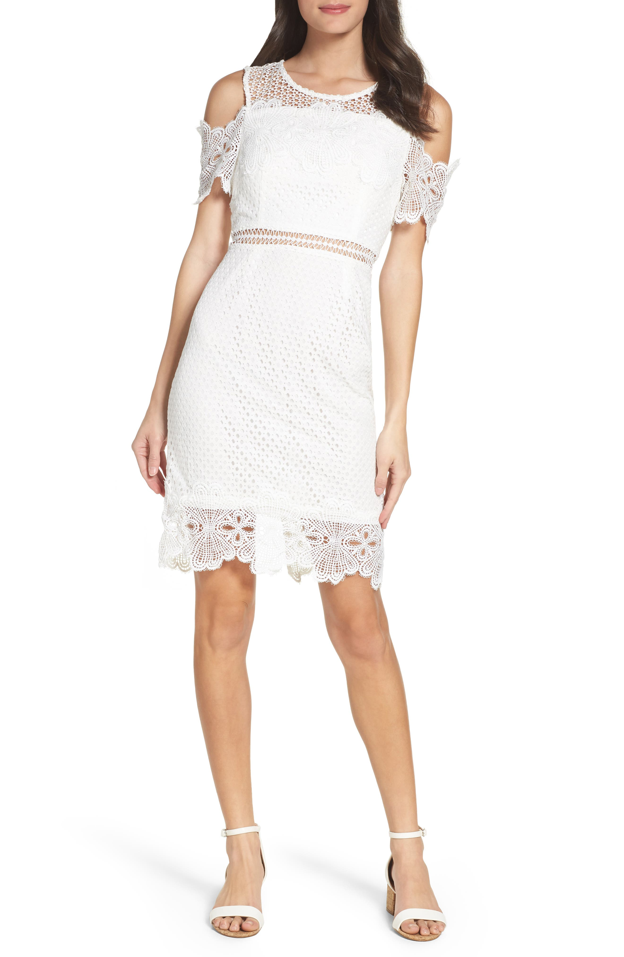Cold Shoulder Lace Dress,                         Main,                         color, White