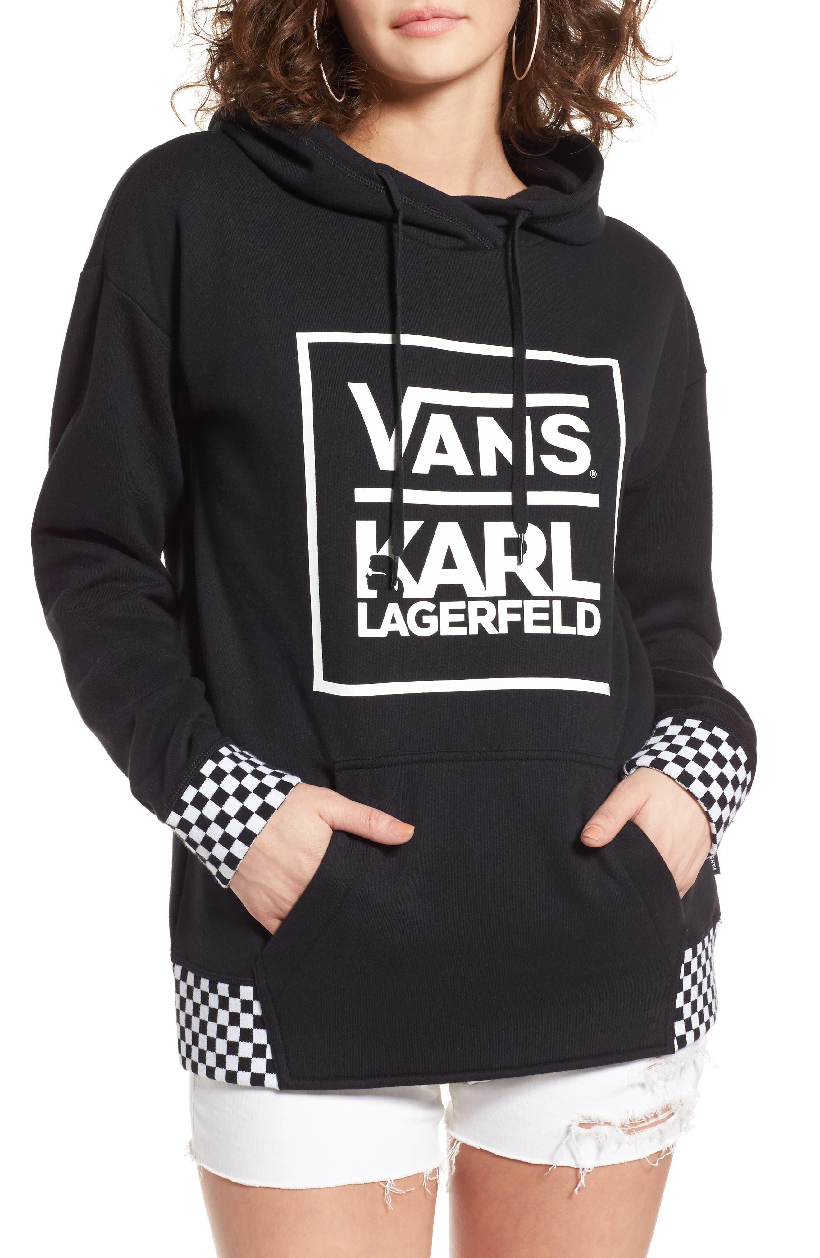 x KARL LAGERFELD Hoodie,                         Main,                         color, Black