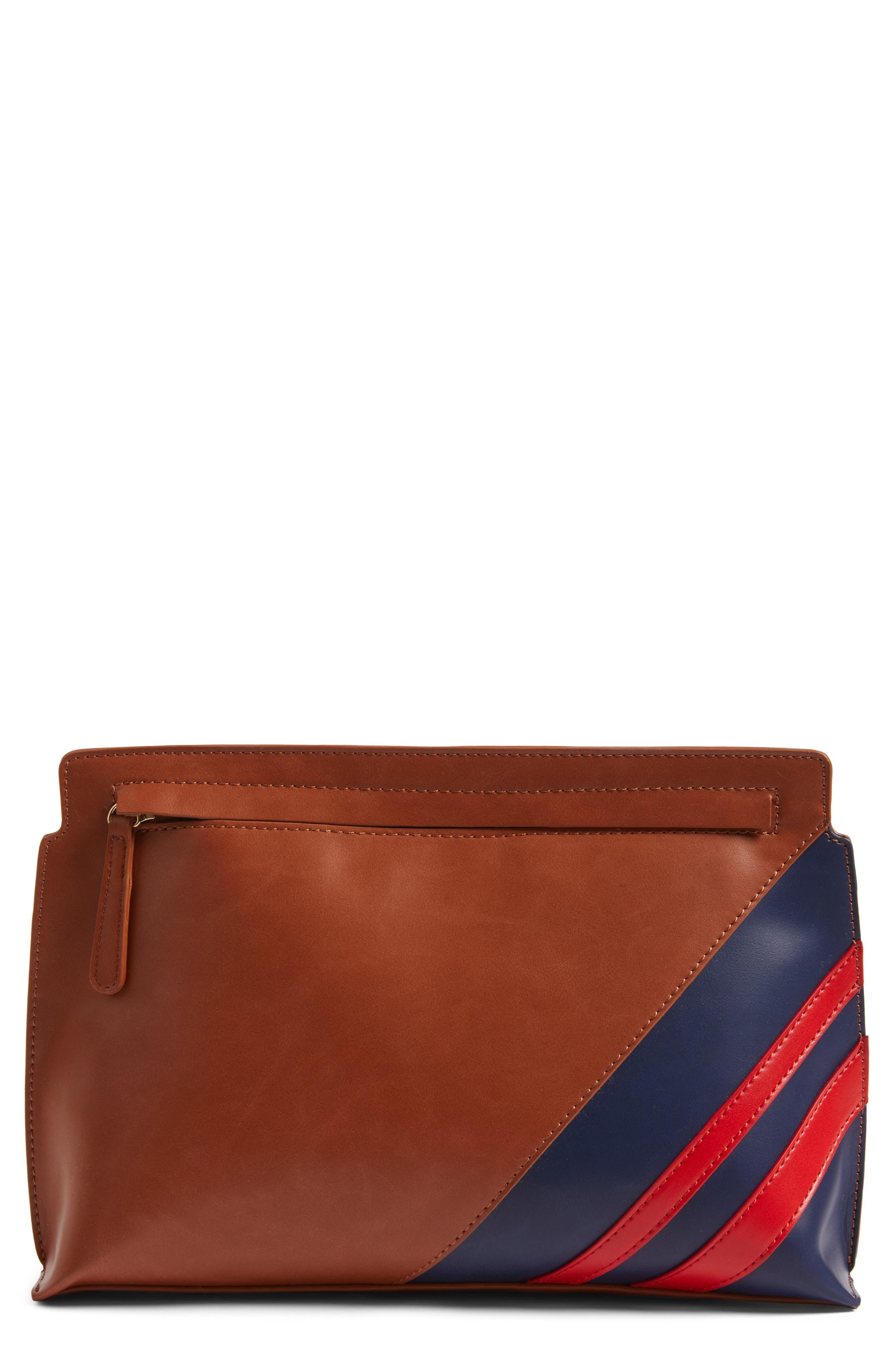 BP. Stripe Faux Leather Clutch