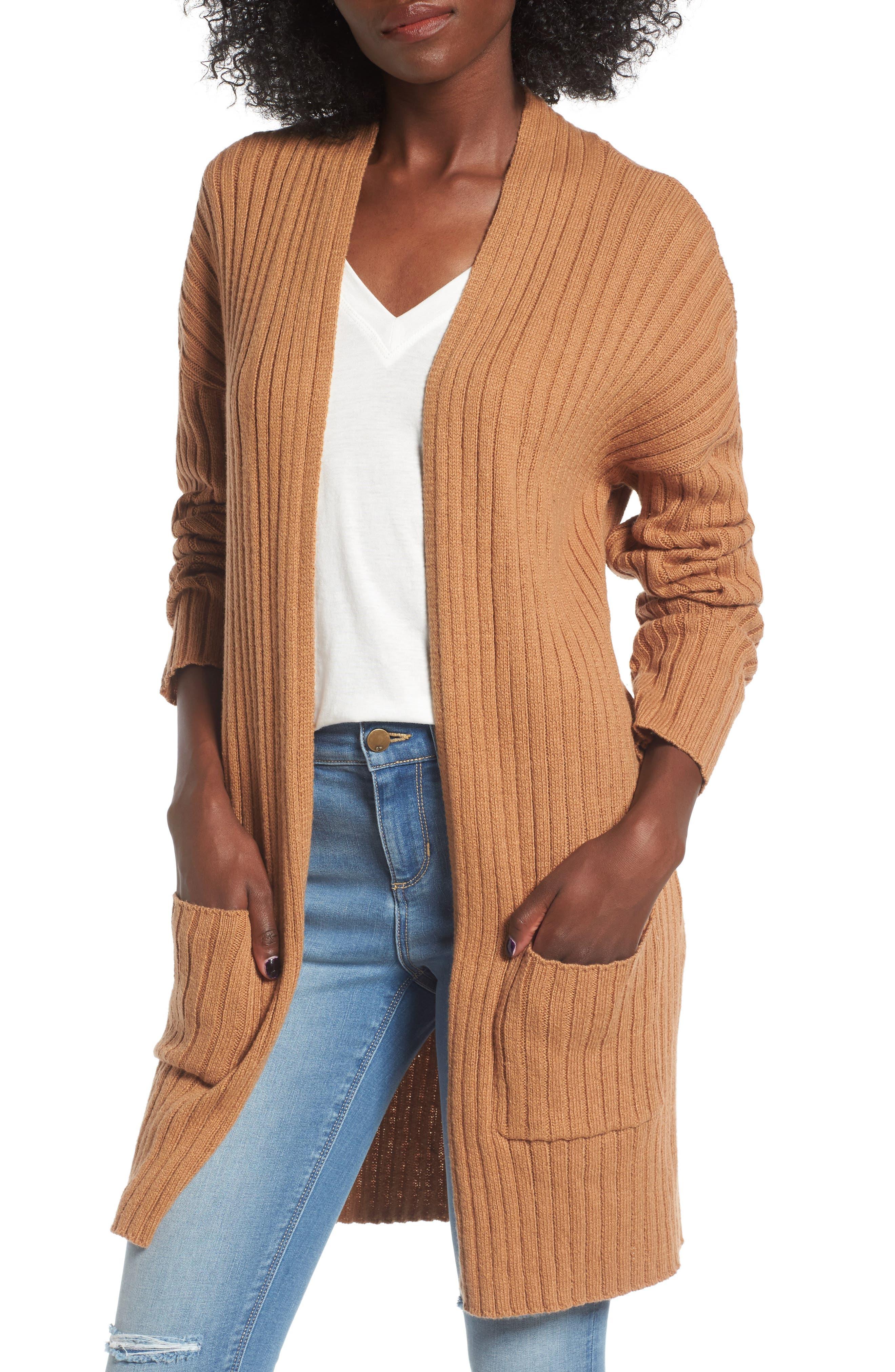 Rib Knit Cardigan,                         Main,                         color, Tan Dale