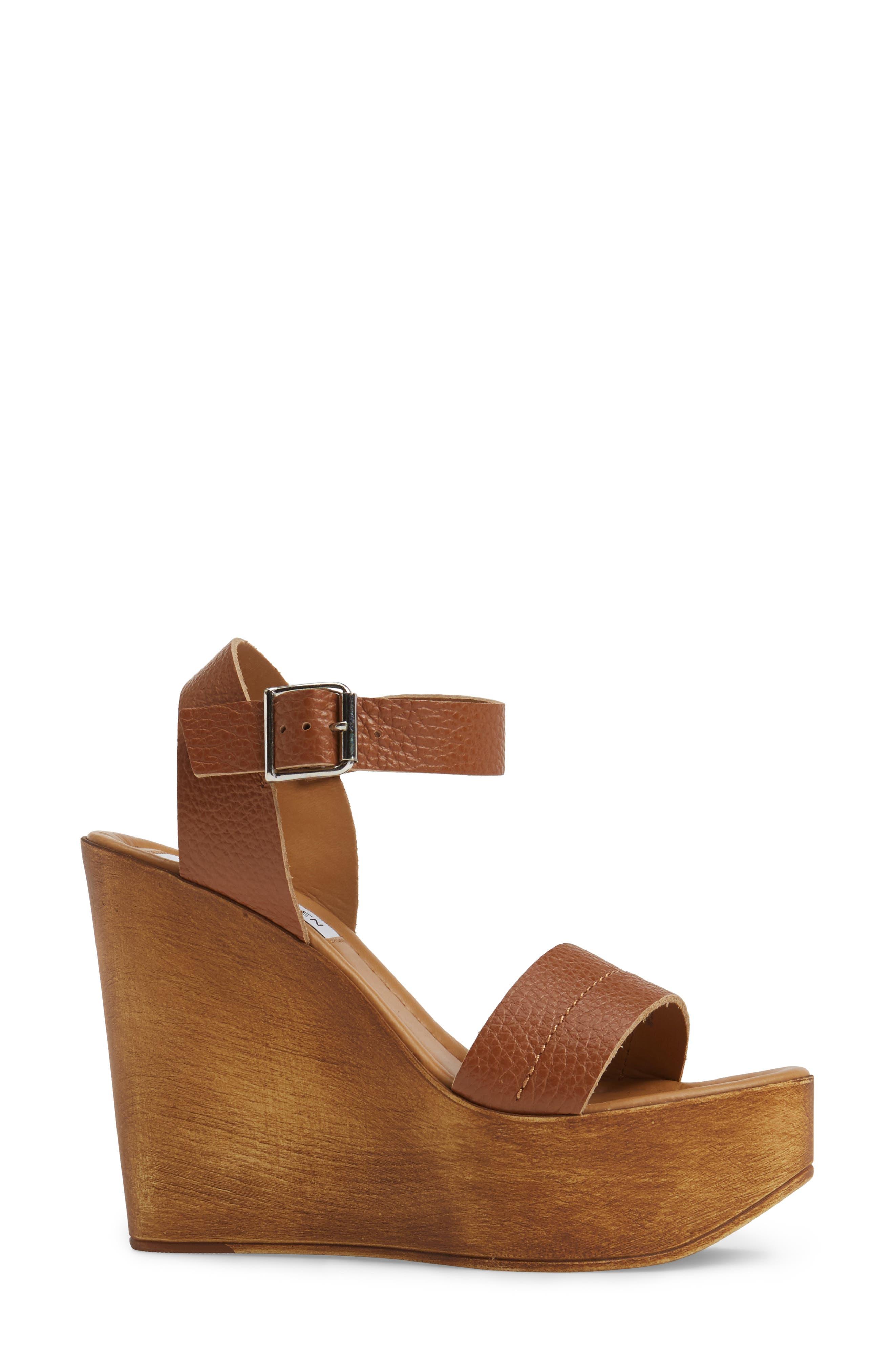 Belma Wedge Sandal,                             Alternate thumbnail 4, color,                             Tan Leather