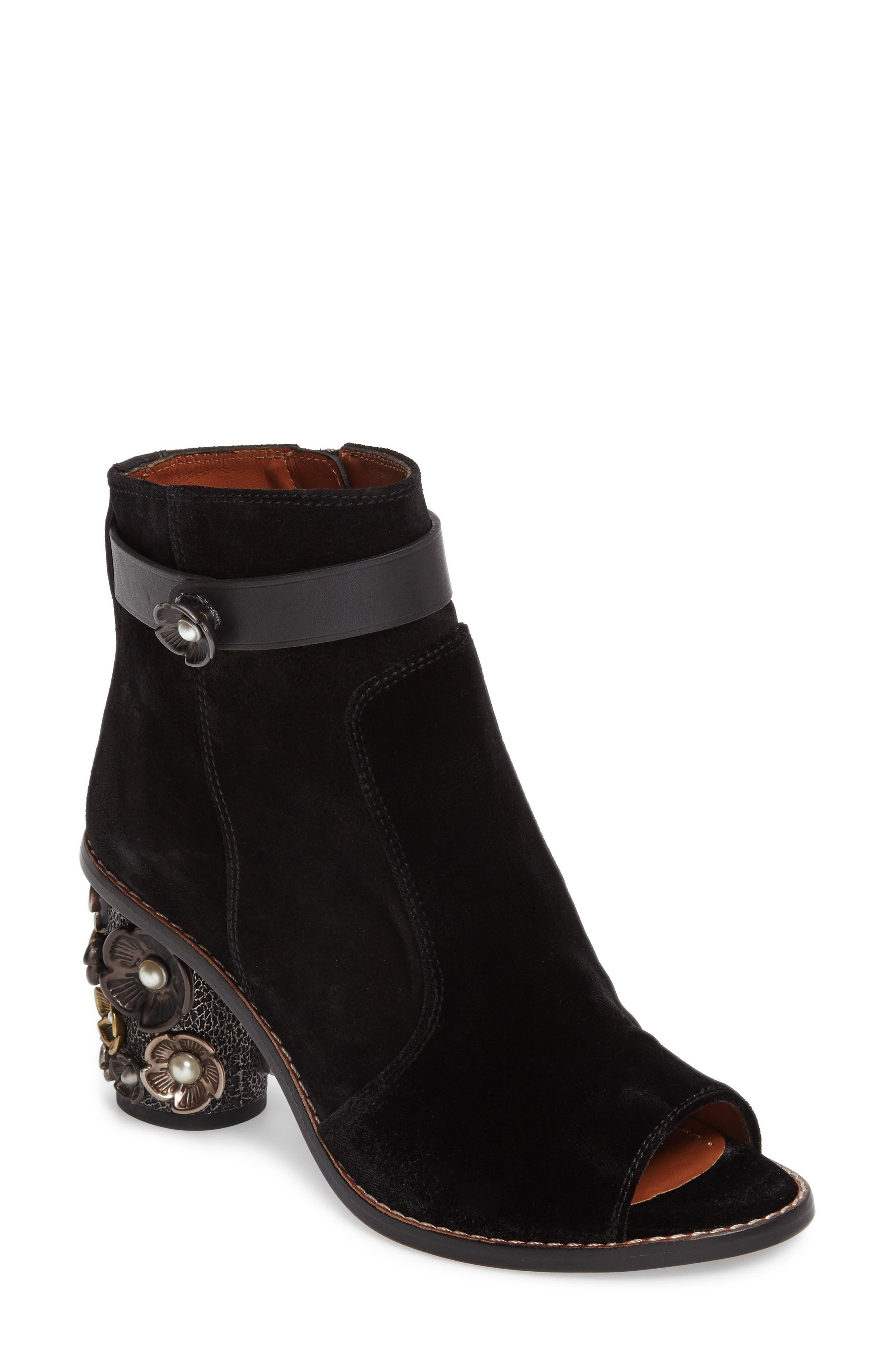 COACH Floral Embellished Open Toe Bootie (Women)