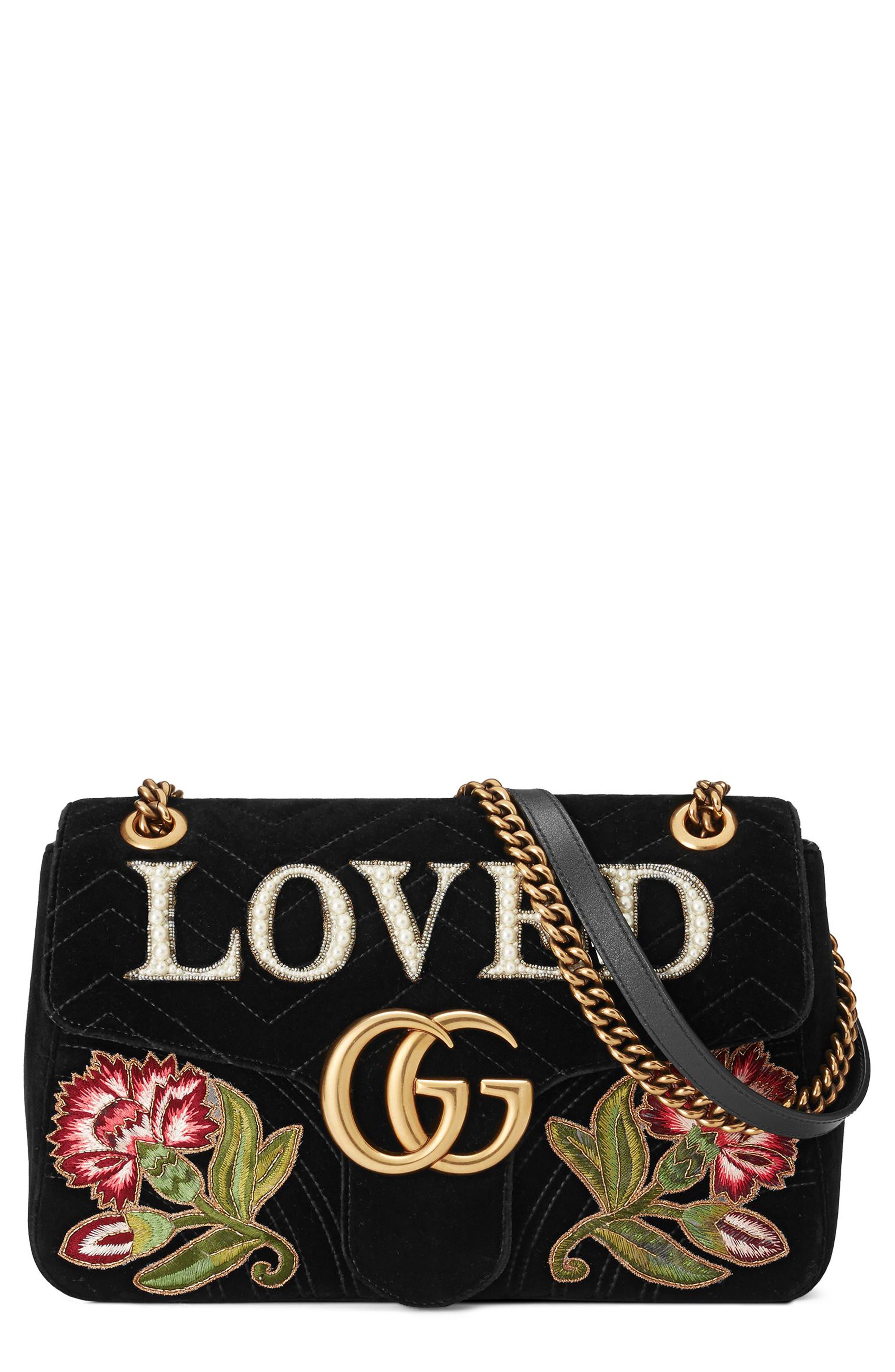 GG Marmont Loved Velvet Shoulder Bag,                             Main thumbnail 1, color,                             Nero Multi