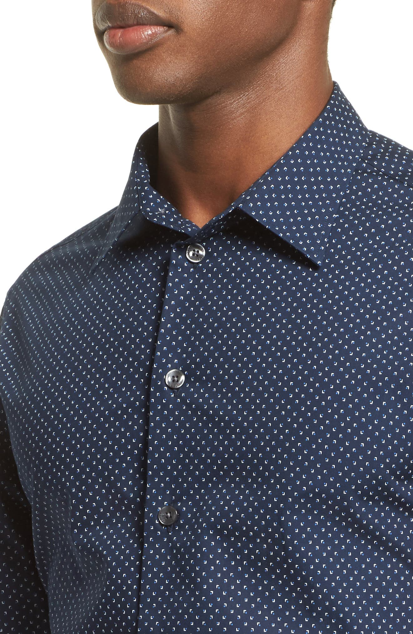 Regular Fit Micro Print Sport Shirt,                             Alternate thumbnail 4, color,                             Navy Print