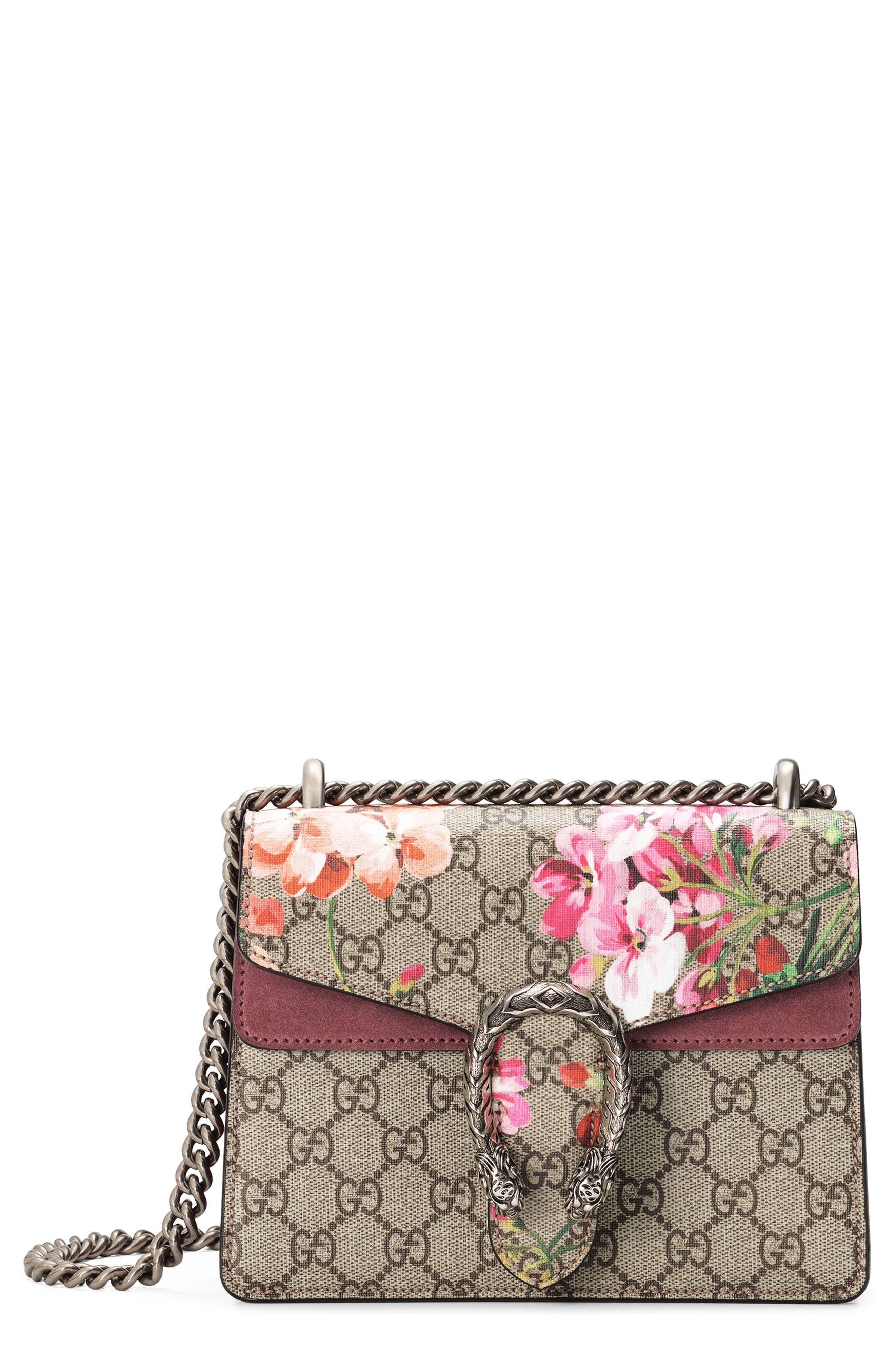 GUCCI Mini Dionysus GG Blooms Canvas & Suede Shoulder Bag