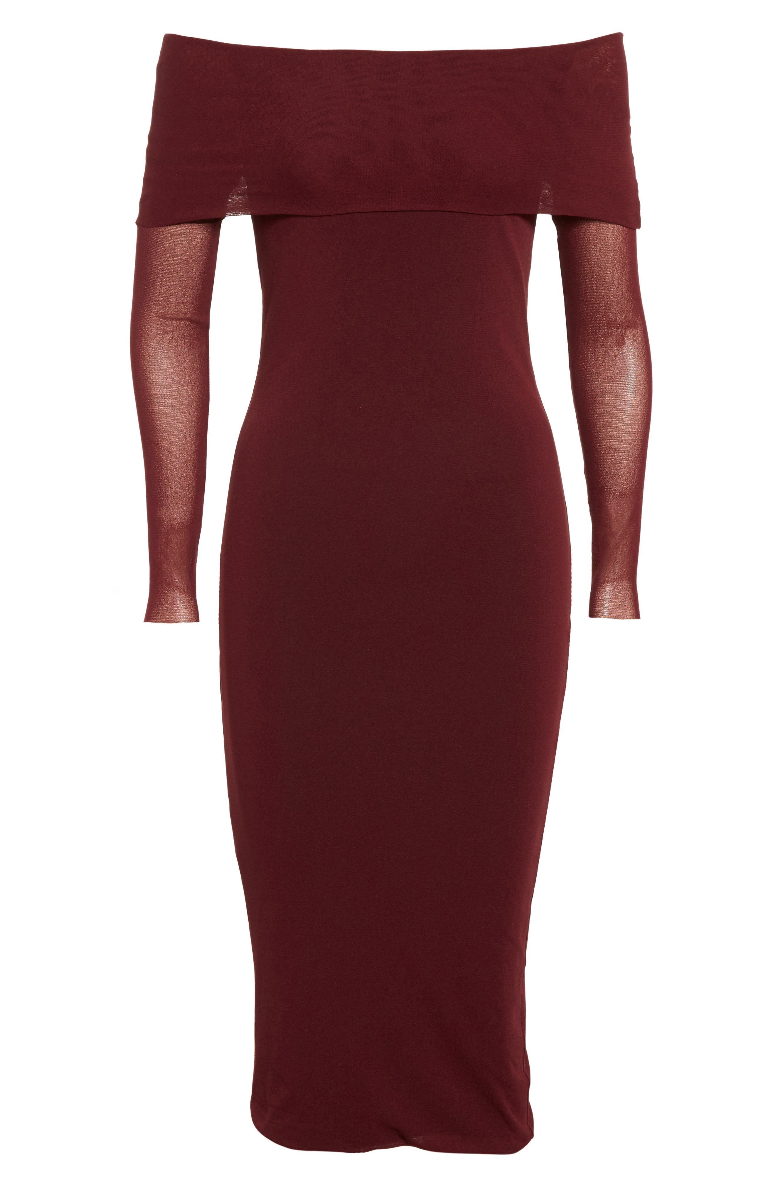 Tulle Off the Shoulder Midi Dress,                             Alternate thumbnail 4, color,                             Plum