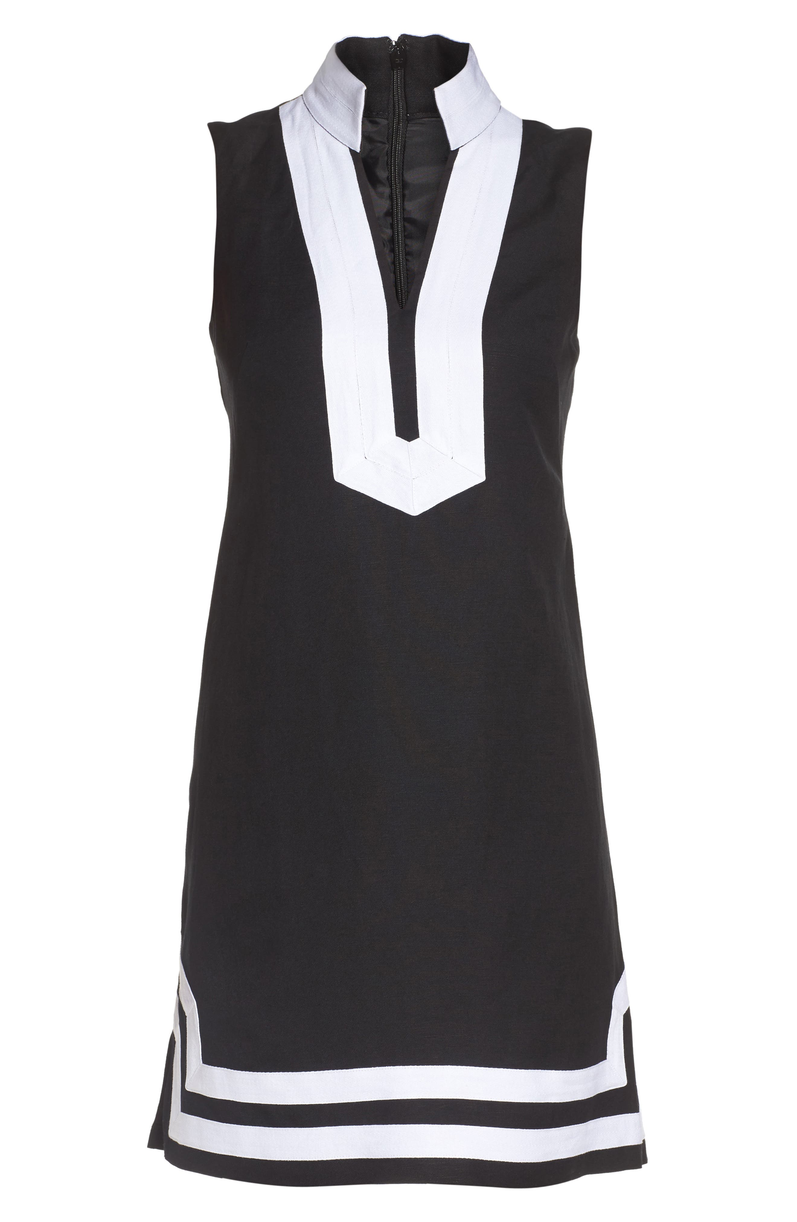 Linen Blend Sheath Dress,                             Alternate thumbnail 6, color,                             Black/ Ivory