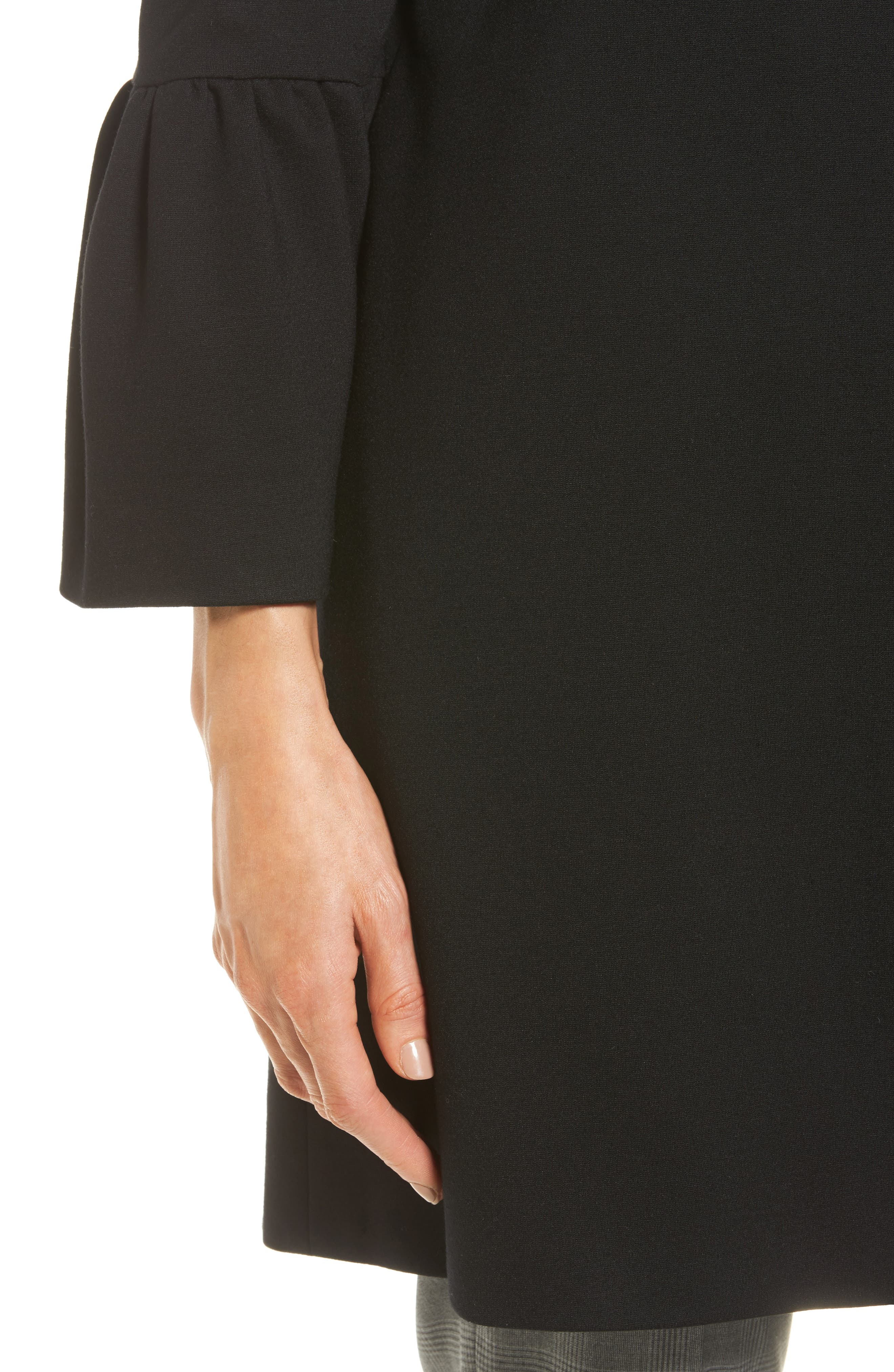Trumpet Sleeve Coat,                             Alternate thumbnail 4, color,                             Black