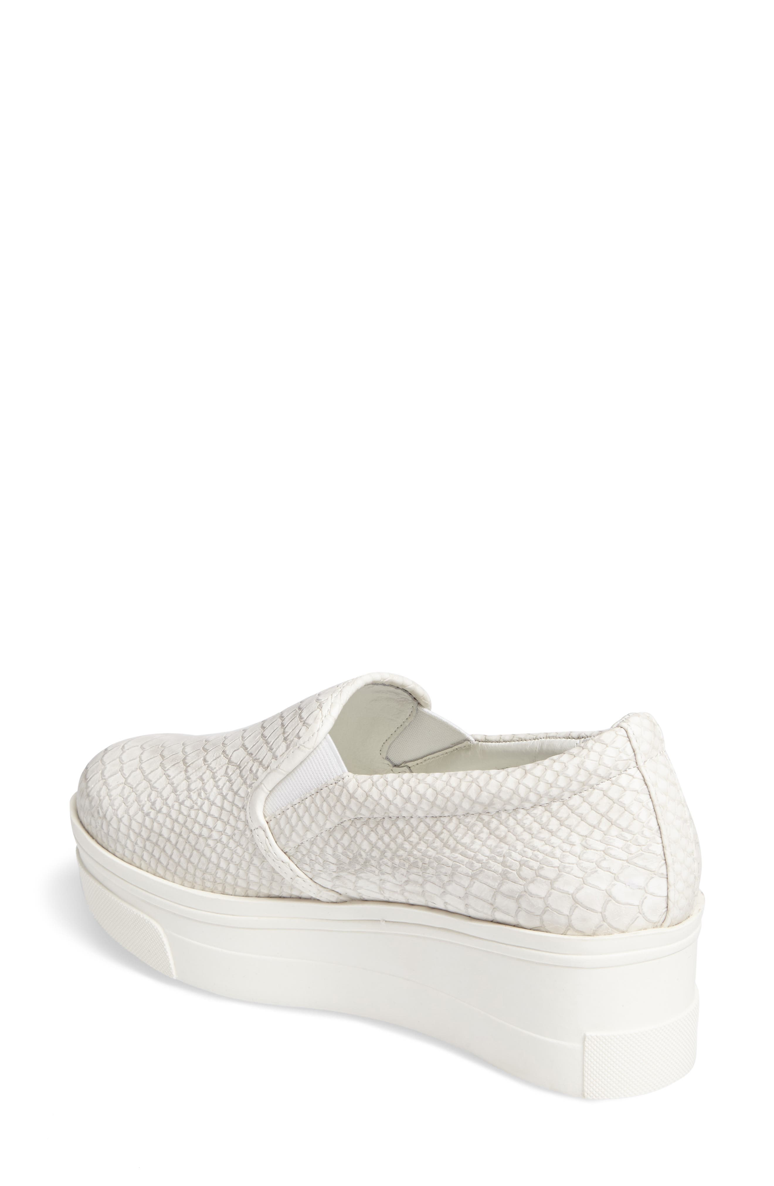 Genna Slip-On Sneaker,                             Alternate thumbnail 2, color,                             White Embossed Leather