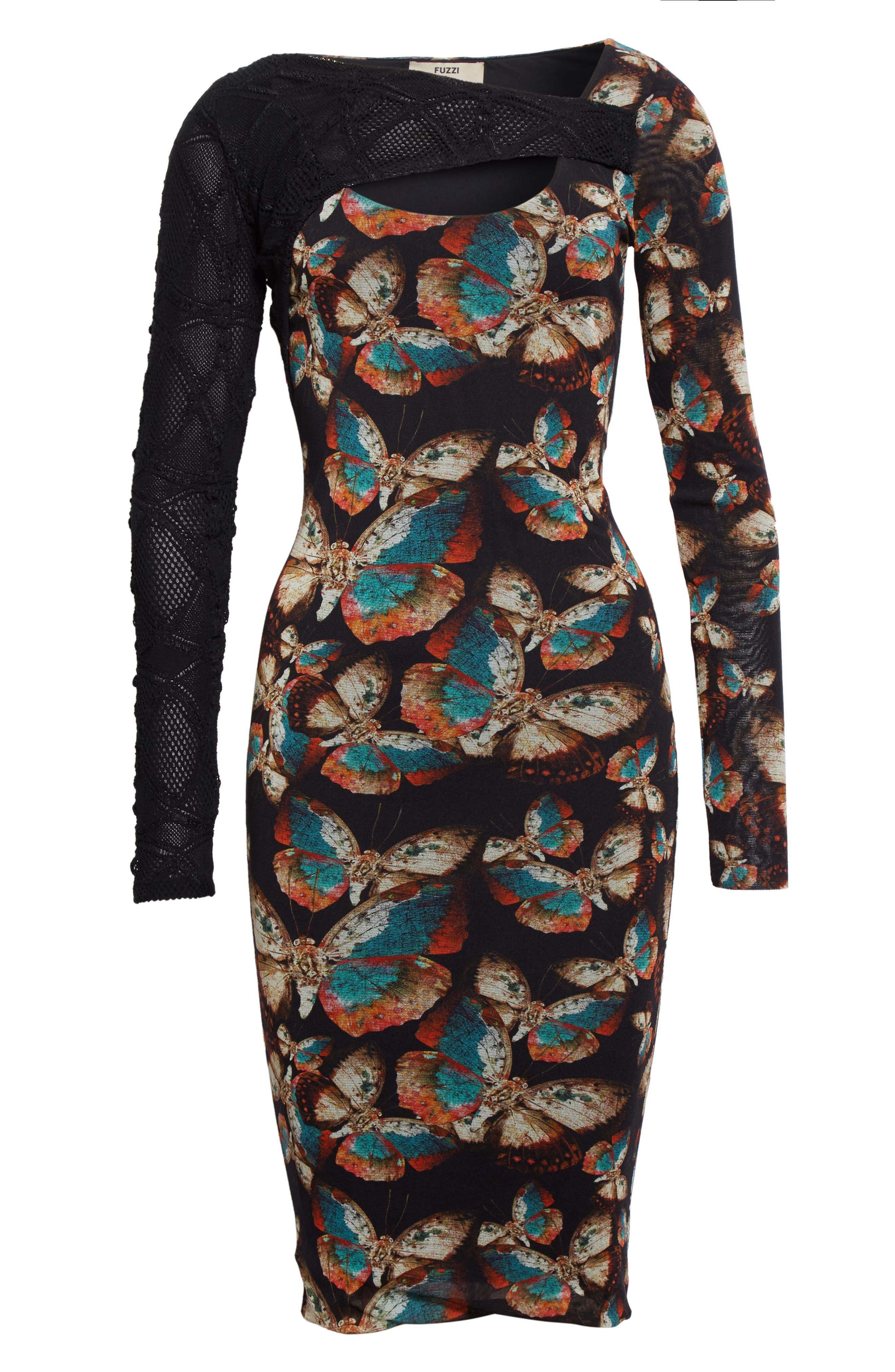 Tulle Sheath Dress,                             Alternate thumbnail 4, color,                             Nero