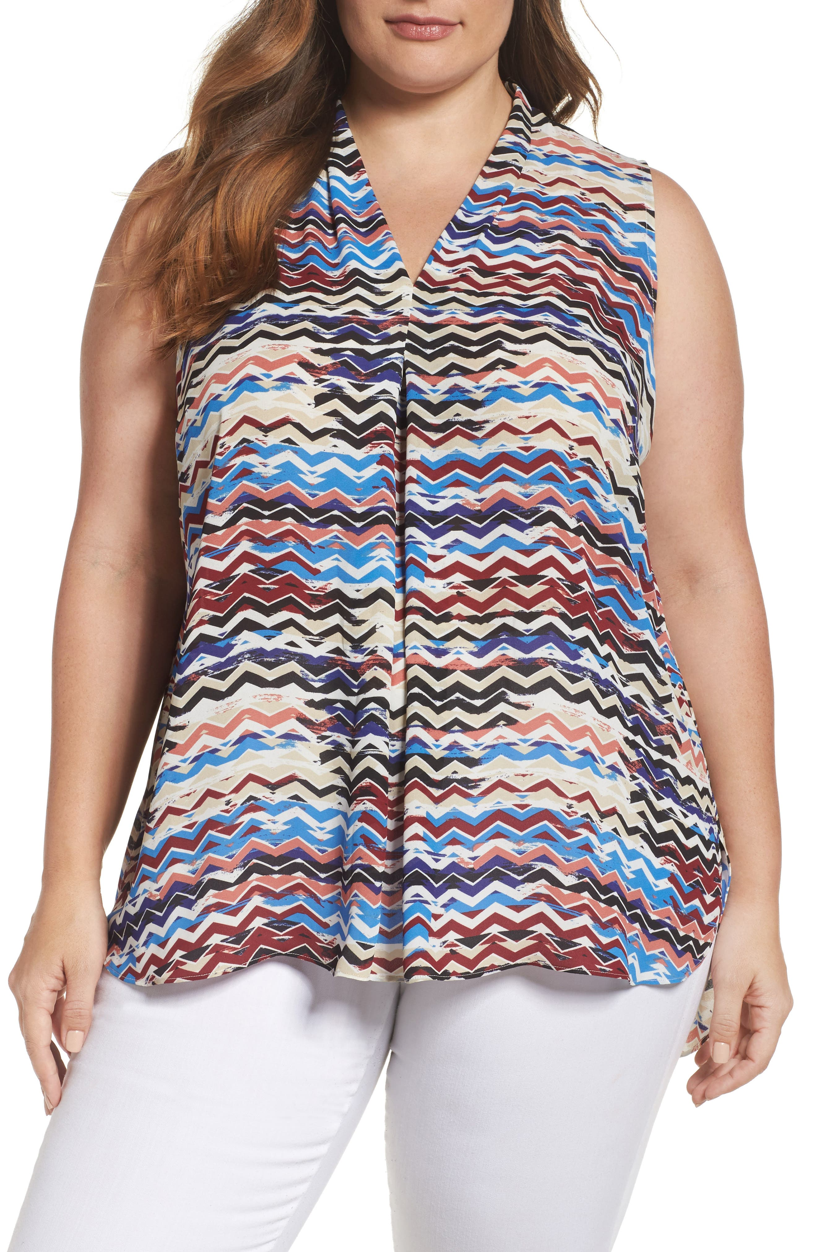 Main Image - Vince Camuto Herringbone Muses Pleat Front Top (Plus Size)