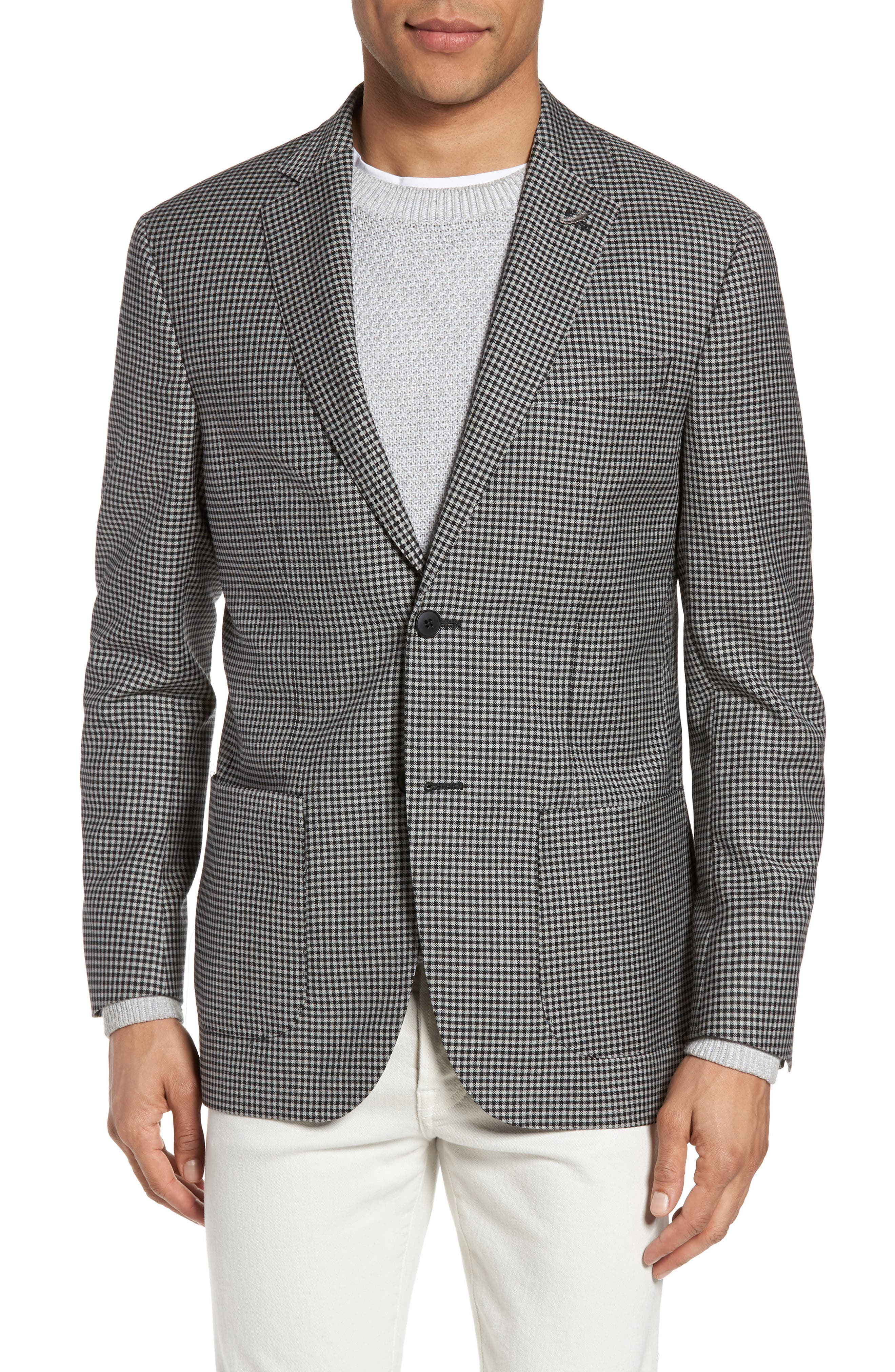 Classic Fit Check Wool Sport Coat,                         Main,                         color, Black/ White Small Check