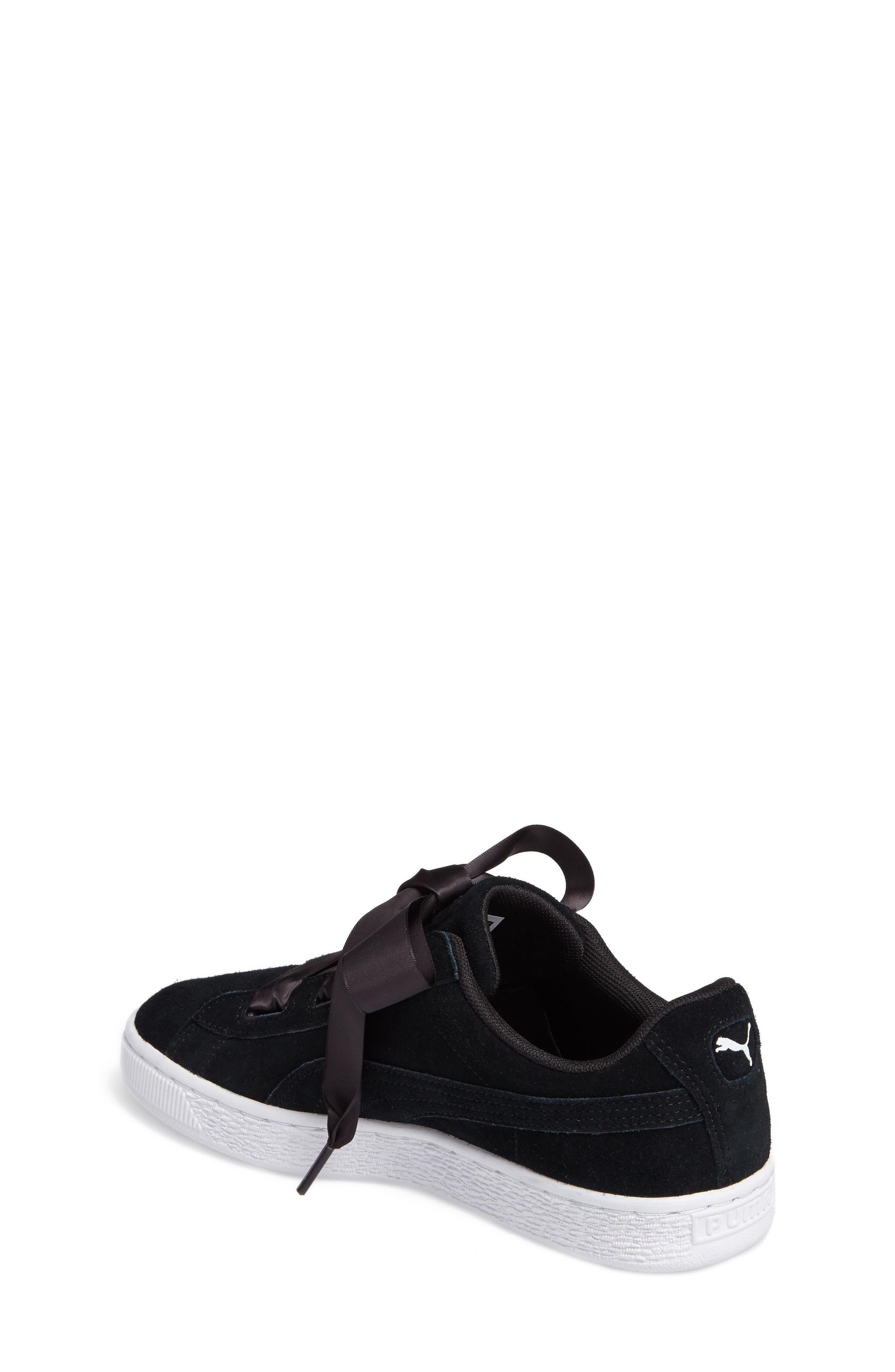 Suede Heart Sneaker,                             Alternate thumbnail 2, color,                             Puma Black